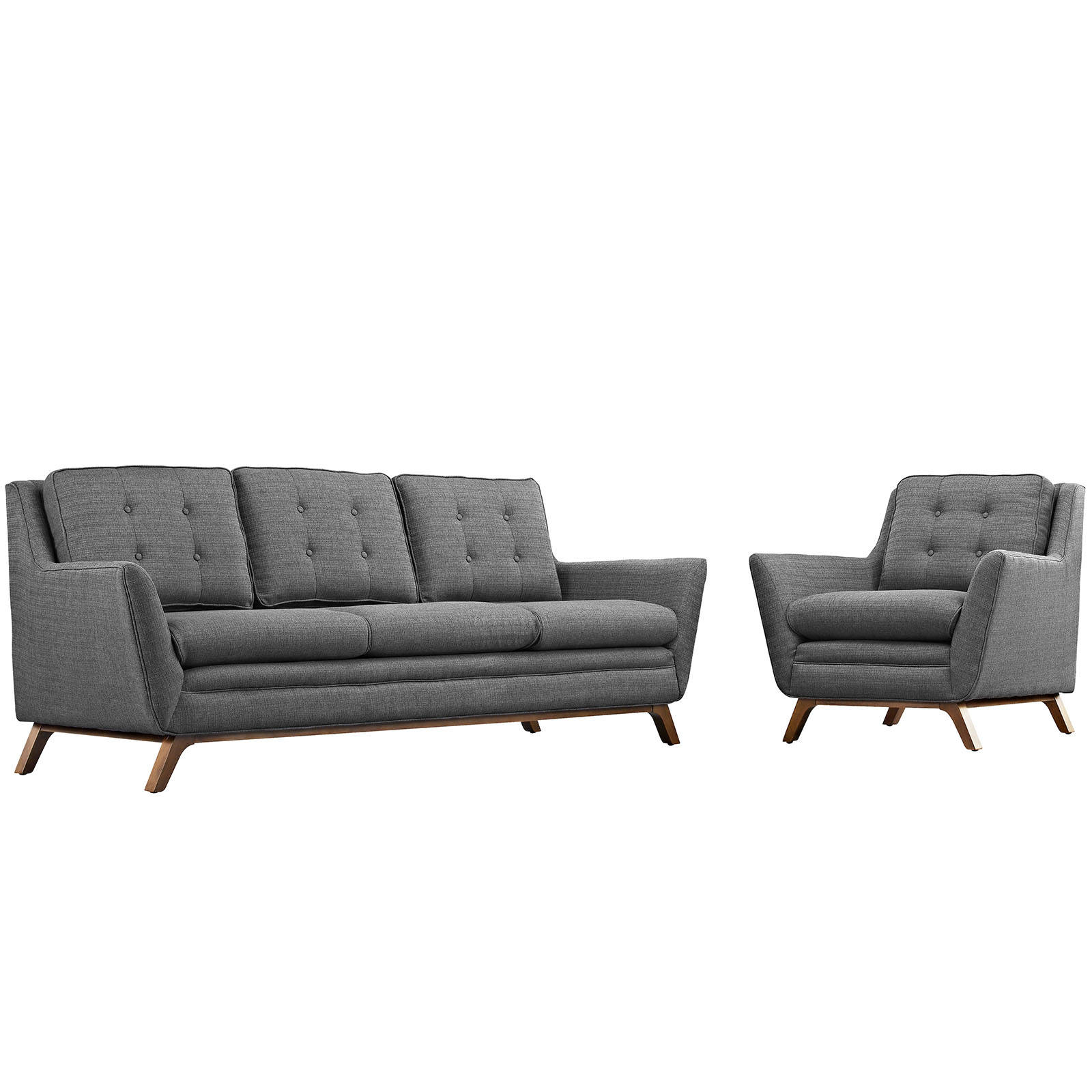 Modway Furniture Beguile Gray 2pc Living Room