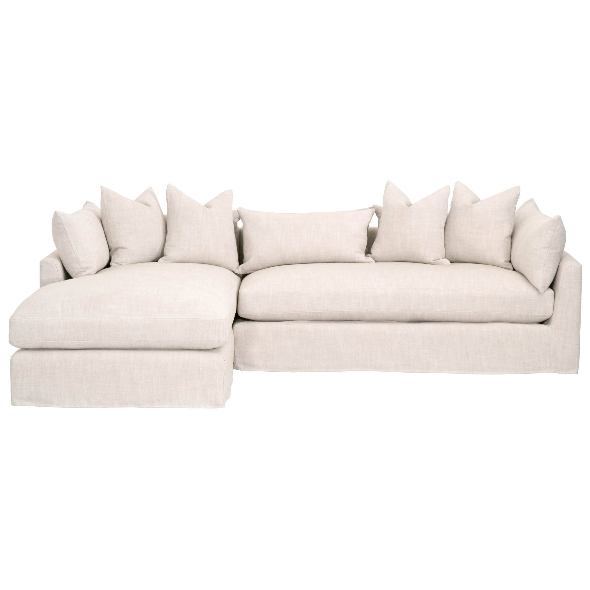 Awe Inspiring Essentials For Living Haven Bisque Espresso 110 Inch Laf Sectional Pabps2019 Chair Design Images Pabps2019Com