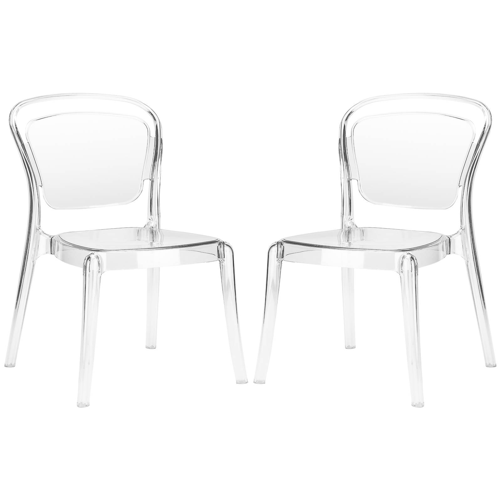 Enjoyable 2 Edgemod Furniture Lucent Clear Dining Side Chairs Ocoug Best Dining Table And Chair Ideas Images Ocougorg