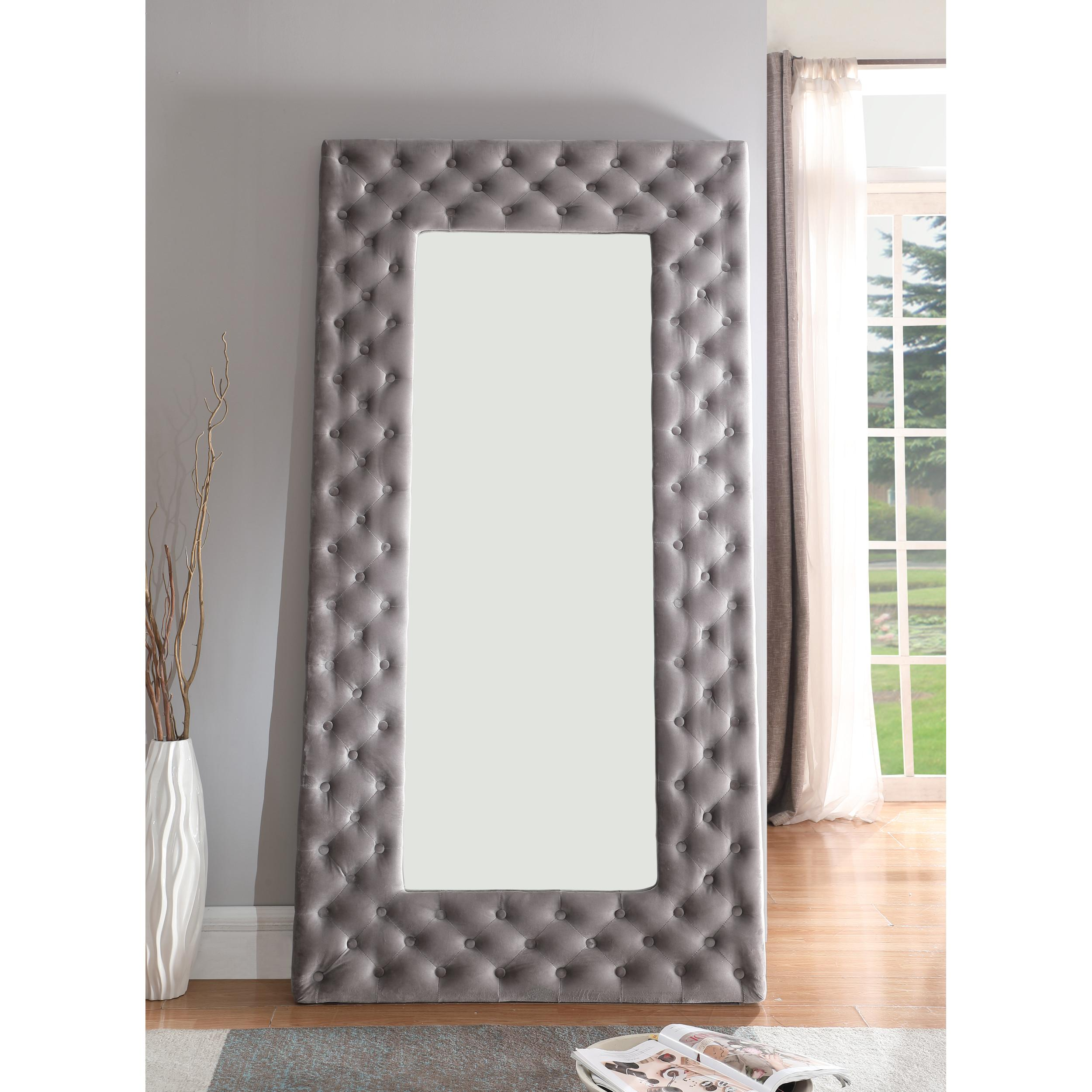 Emerald Home Lacey Silver Gray Fabric Tufted Floor Mirror