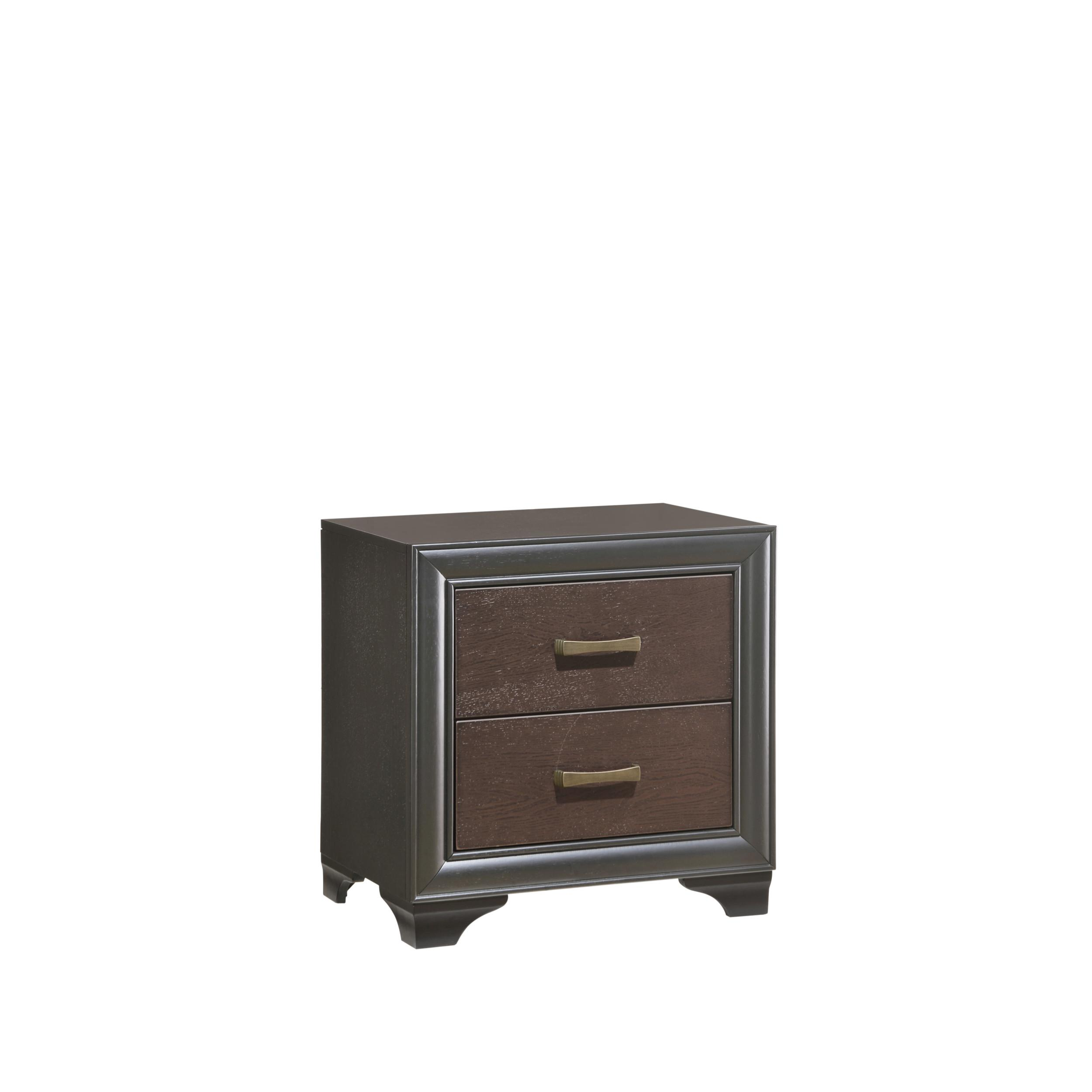 Emerald Home Prelude Black Brown Wood 2 Drawers Night Stand