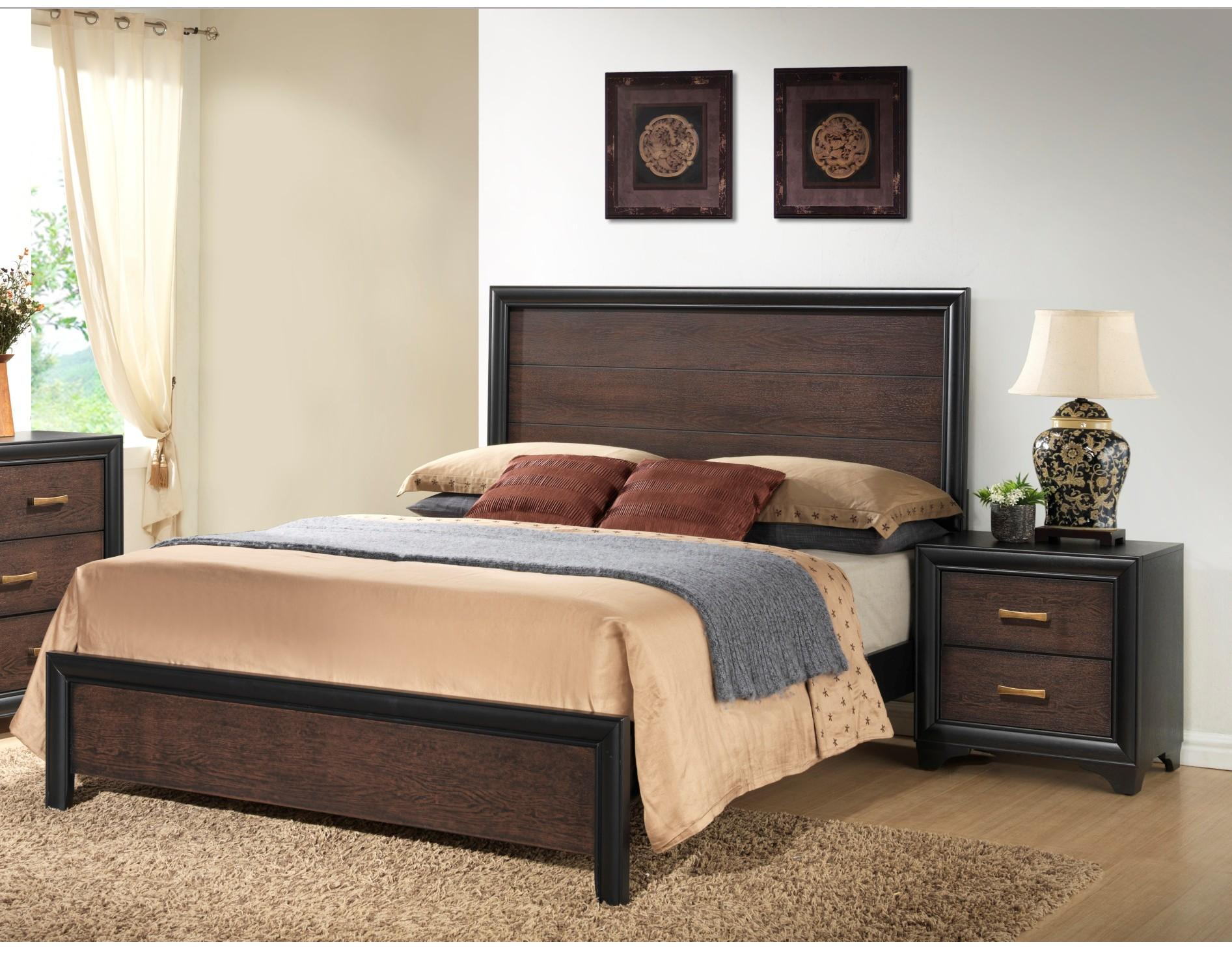Emerald Home Prelude Black Brown Wood 2pc Bedroom Set with Queen Bed