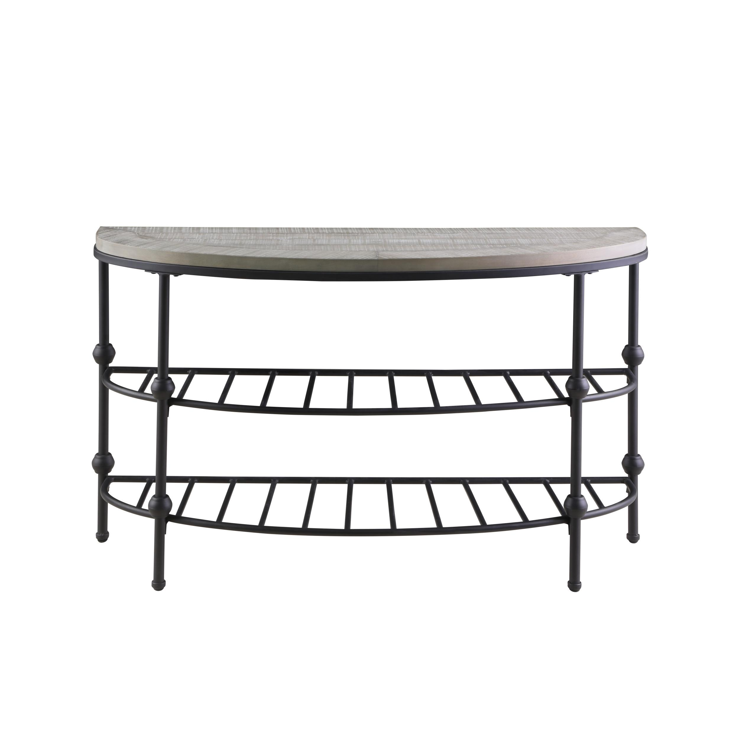 Oak Gray Metal Half Round Sofa Table