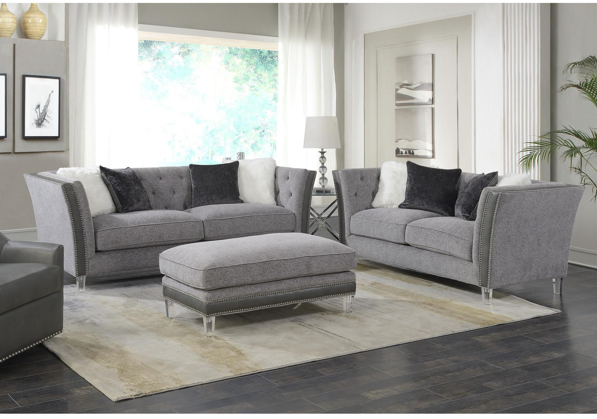 Emerald home patricia silver gray nailhead 3pc living room set click to enlarge