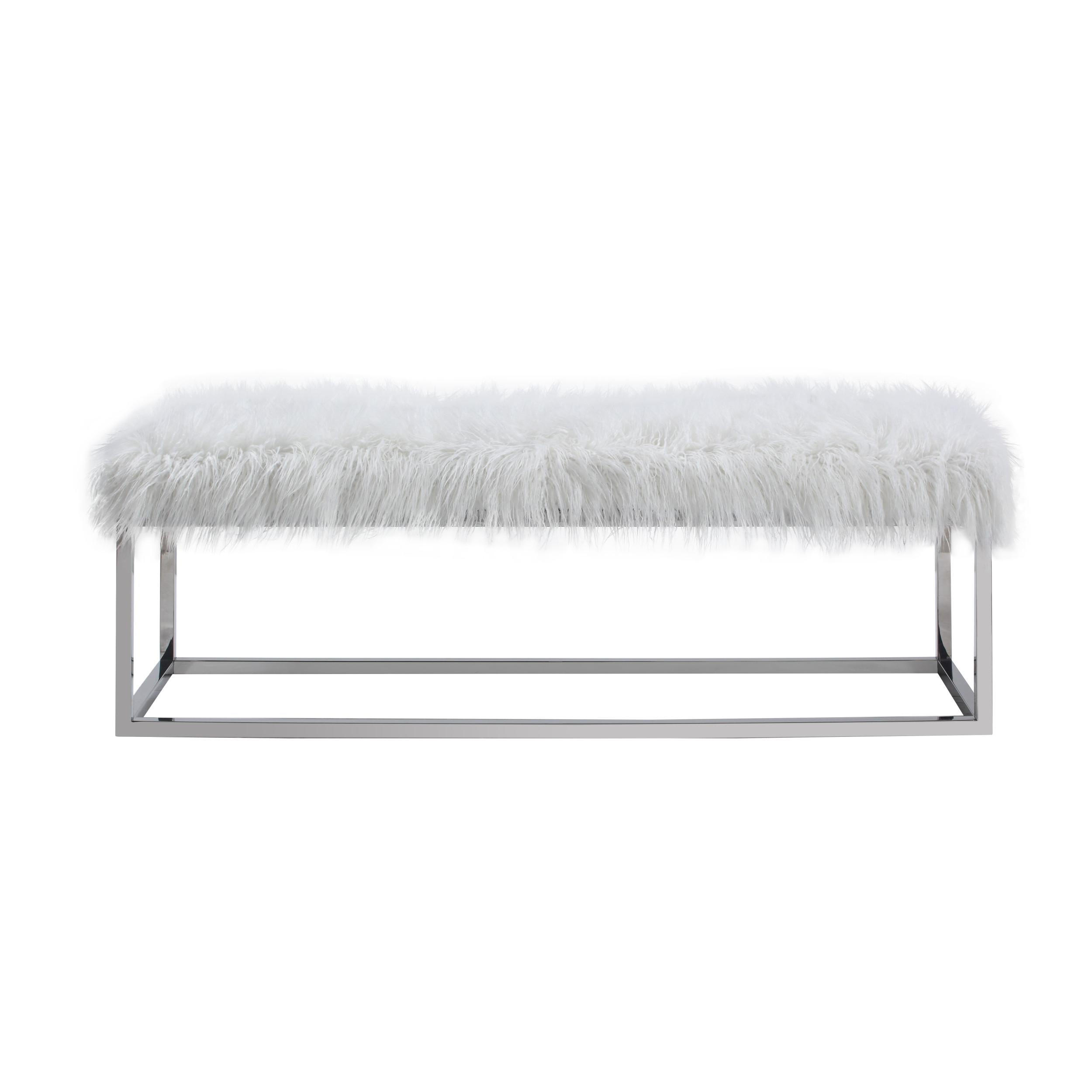 Emerald Home Diva Snow White Fabric Upholstered Bench The Classy Home