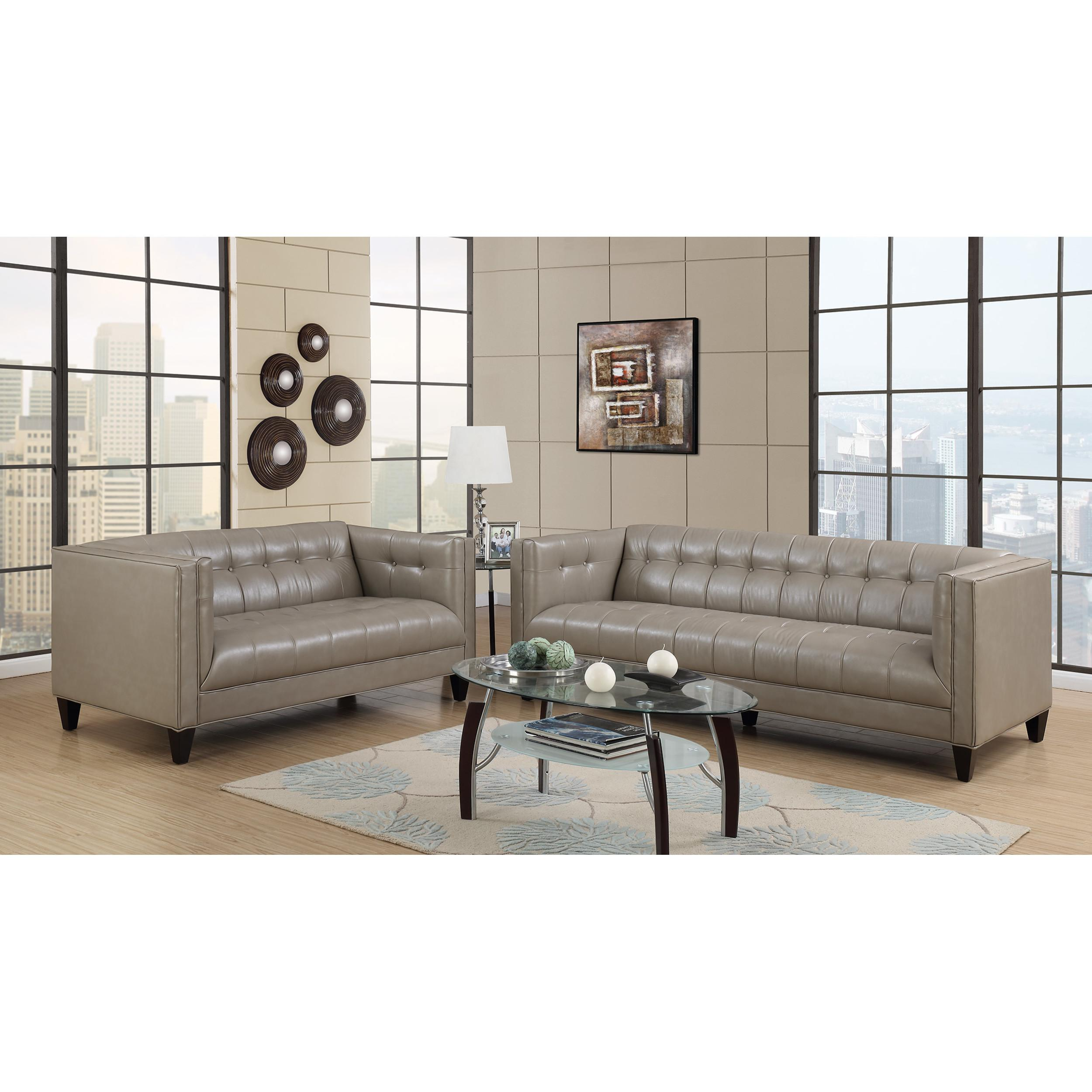 Emerald Home Nicolet Taupe Faux Leather 2pc Living Room Set