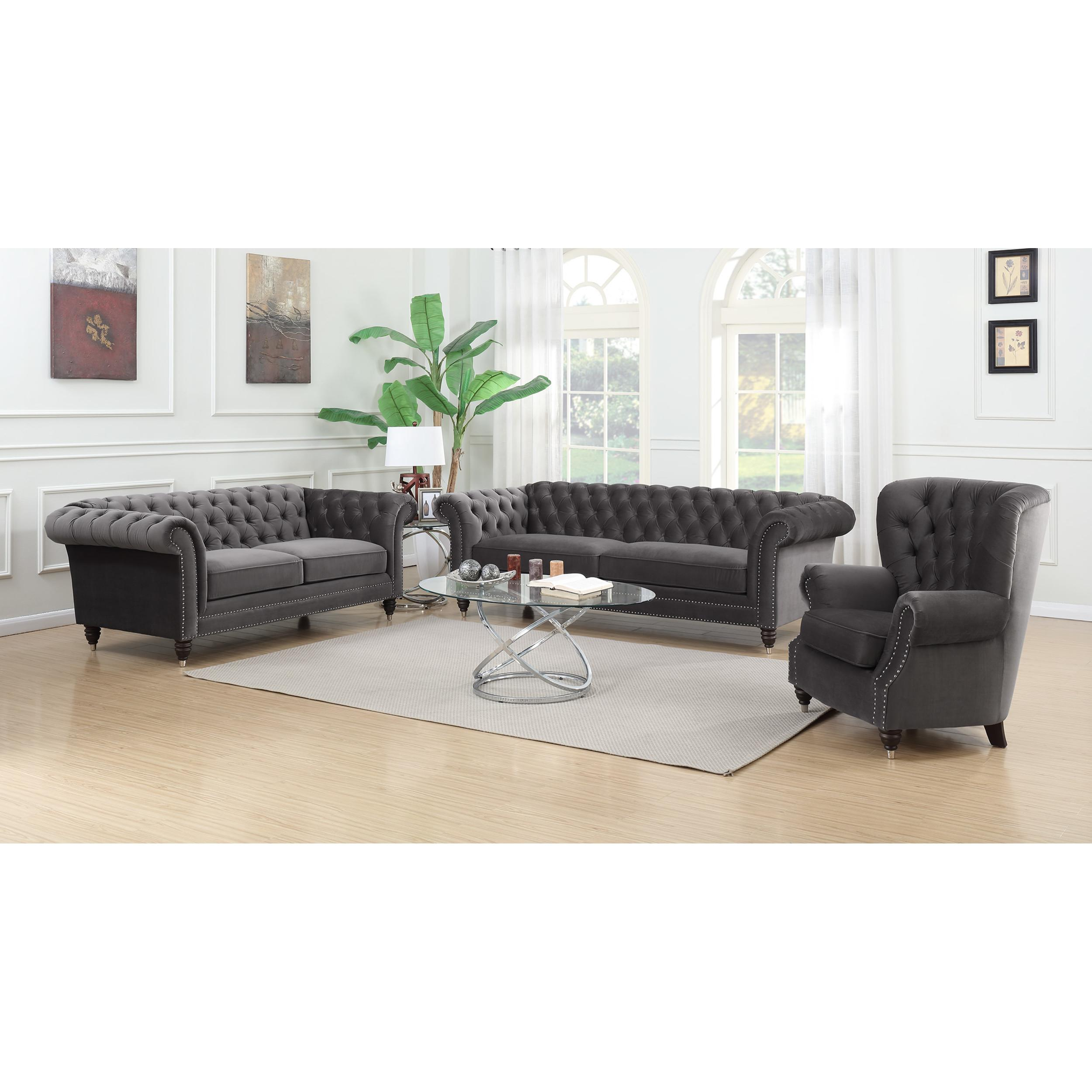 Tremendous Emerald Home Capone Platinum Nailhead 3Pc Living Room Set Home Interior And Landscaping Ponolsignezvosmurscom