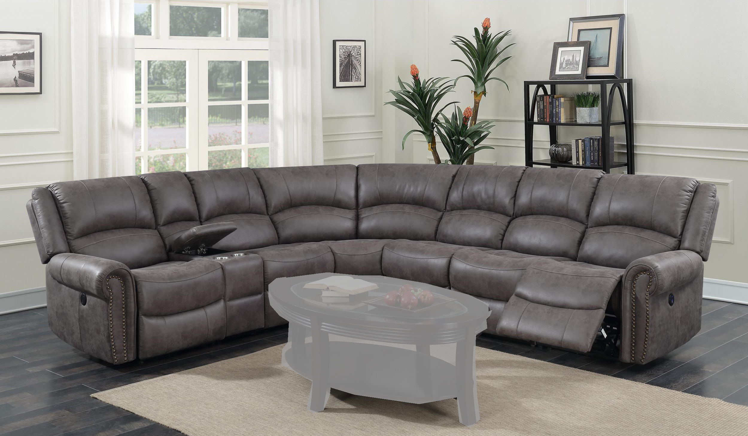 Enjoyable Emerald Home Spencer Charcoal Gray Modular Reclining Sectional Inzonedesignstudio Interior Chair Design Inzonedesignstudiocom