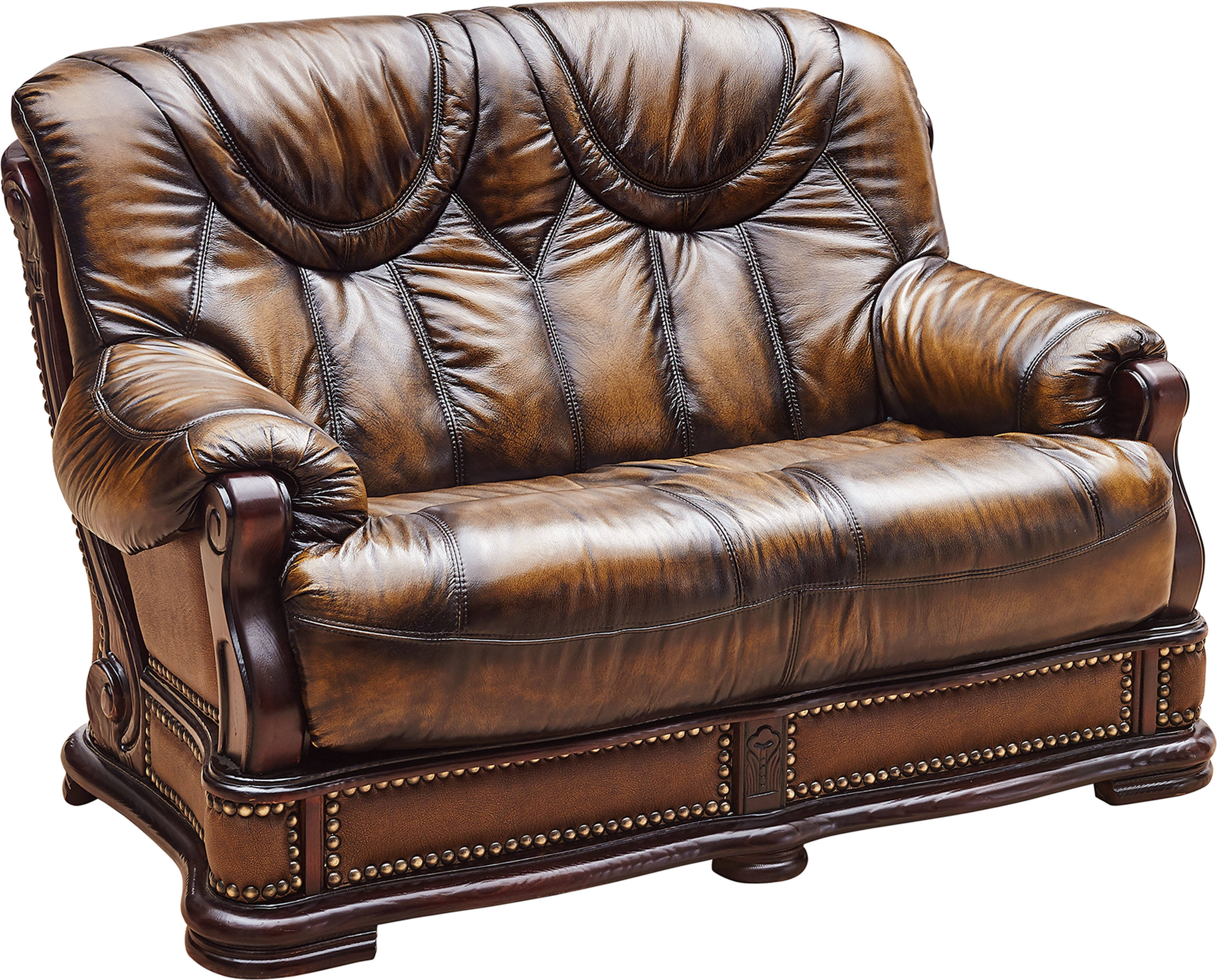 ESF SWH Classic Living Oakman Leather Wood Loveseat