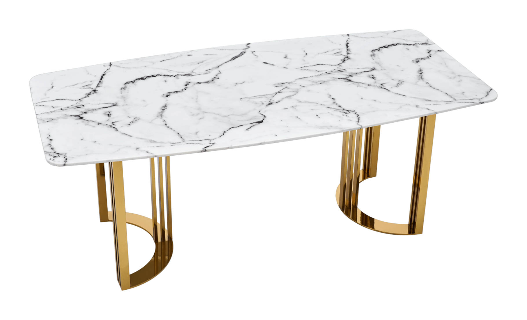 131 Gloss White Gold Dining Table