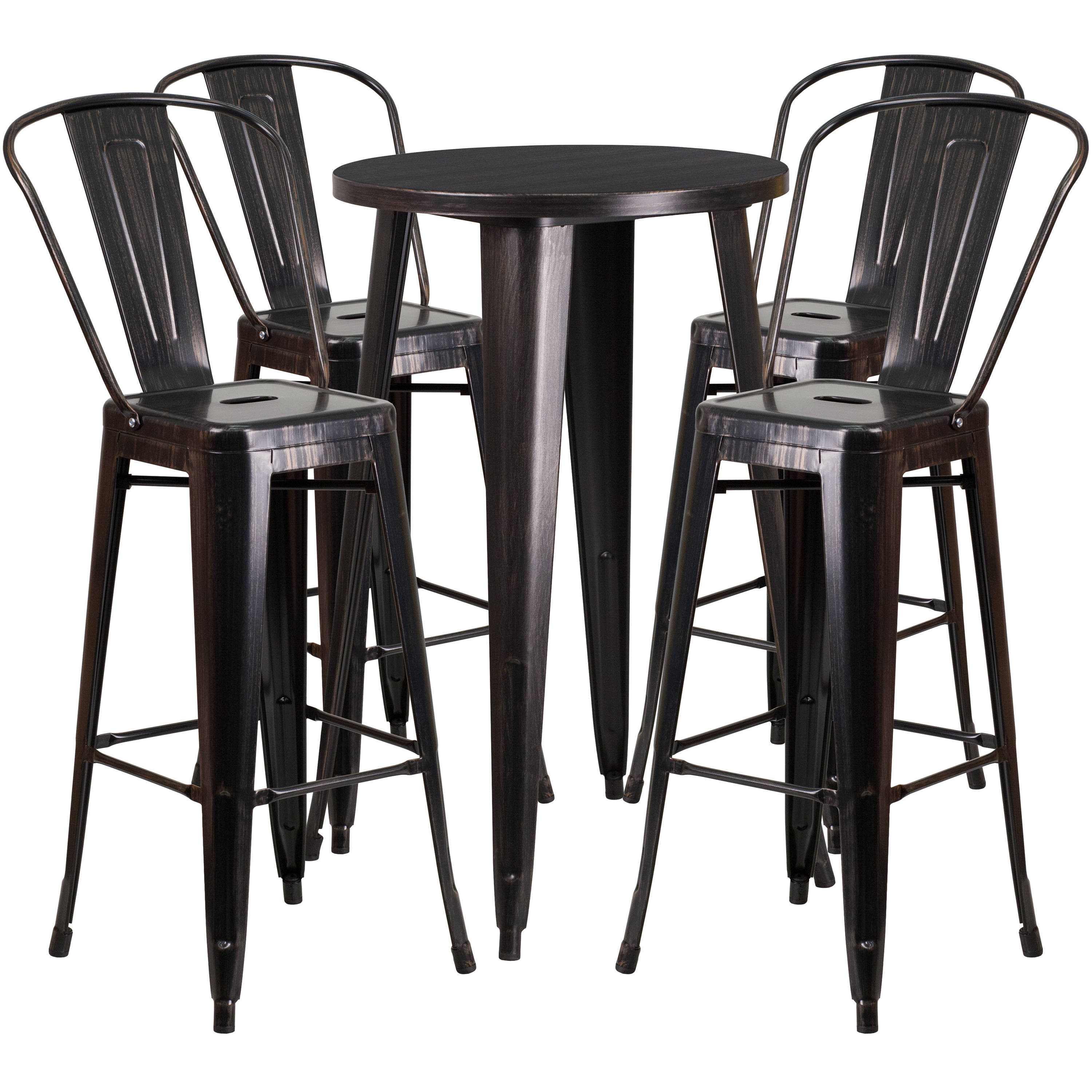Astounding Flash Furniture Black Gold Indoor Outdoor Bar Table Set With 4 Cafe Stools Unemploymentrelief Wooden Chair Designs For Living Room Unemploymentrelieforg