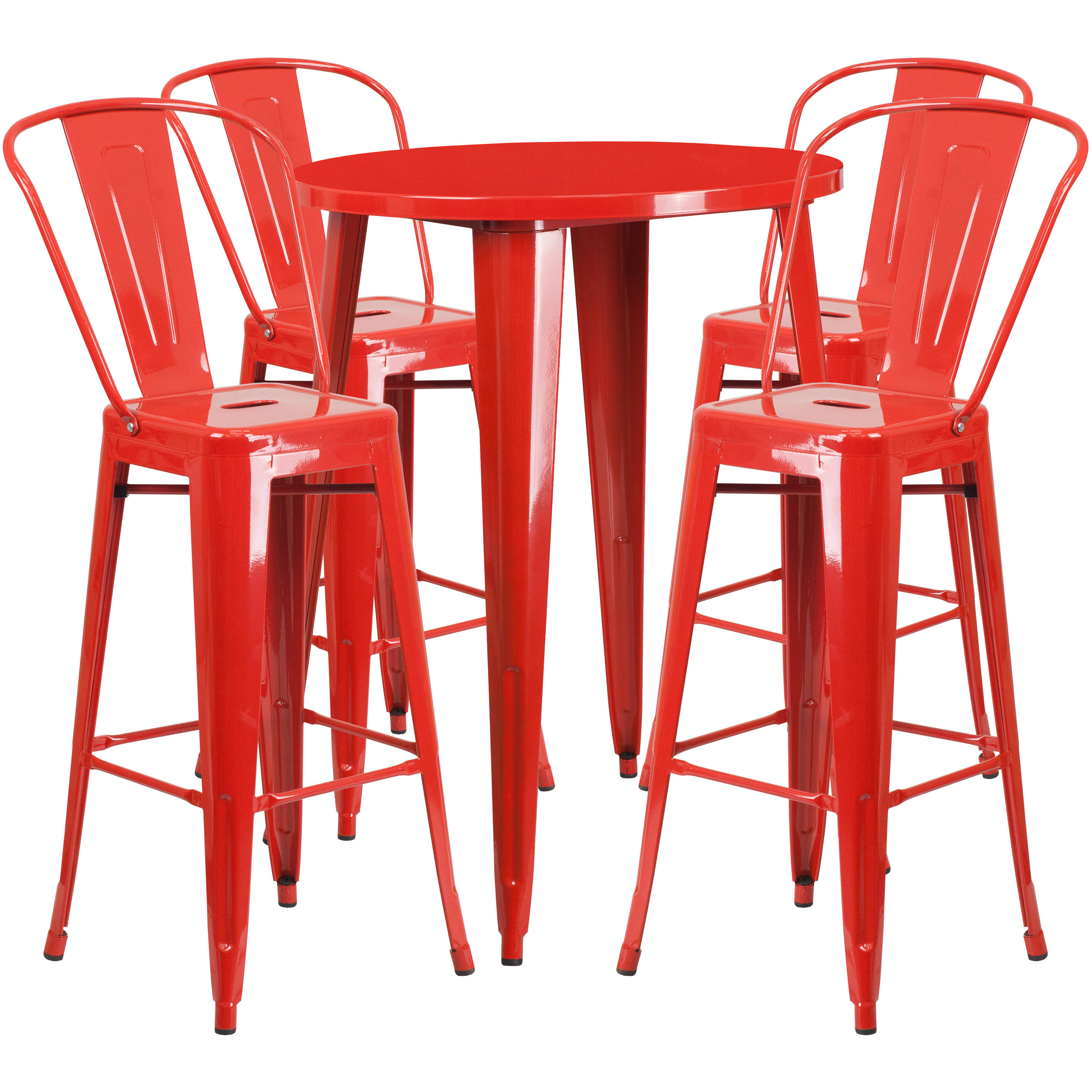 Strange Flash Furniture Red Metal Indoor Outdoor Bar Table Set With 4 Cafe Stools Cjindustries Chair Design For Home Cjindustriesco