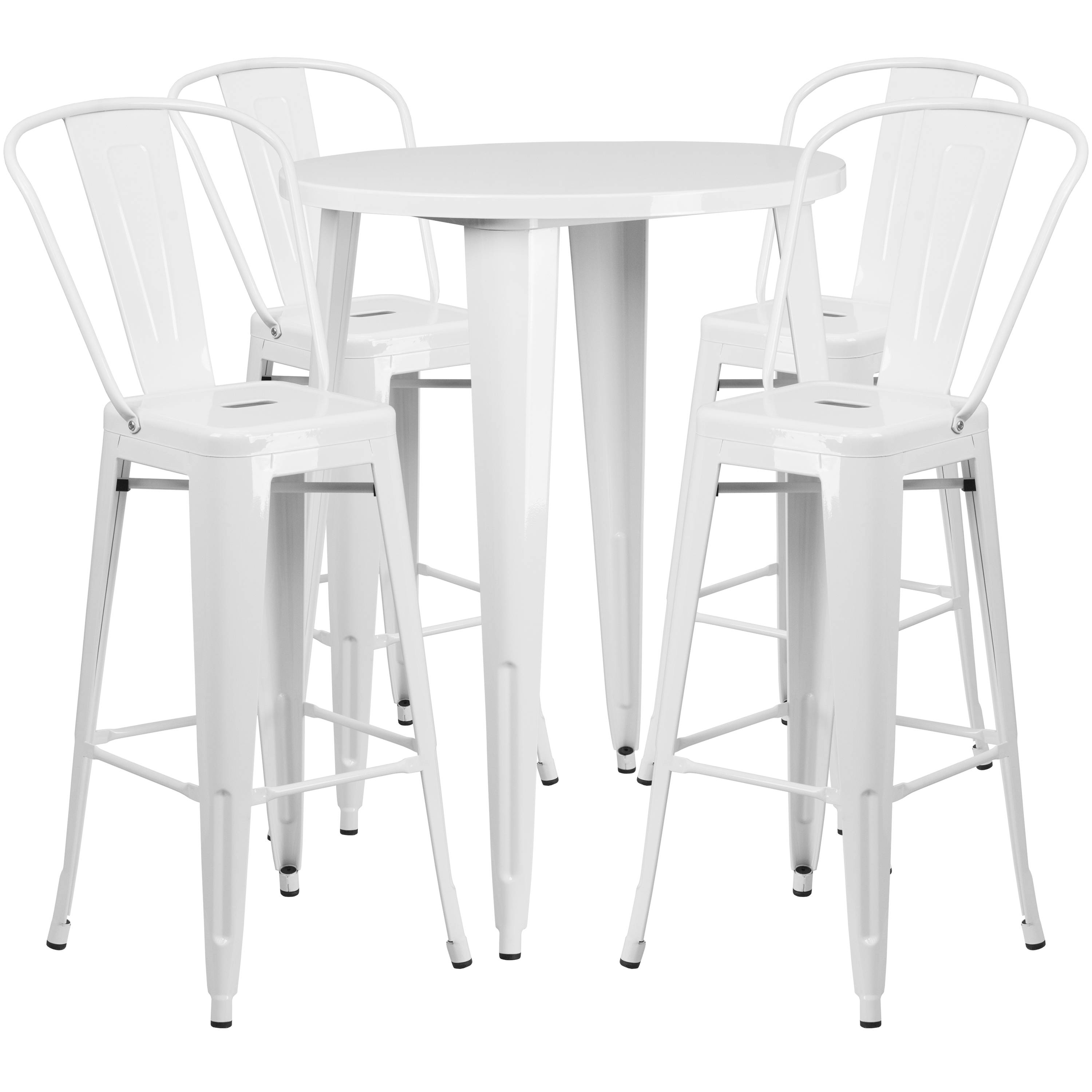 Astonishing Flash Furniture White Metal Indoor Outdoor Bar Table Set With 4 Cafe Stools Forskolin Free Trial Chair Design Images Forskolin Free Trialorg