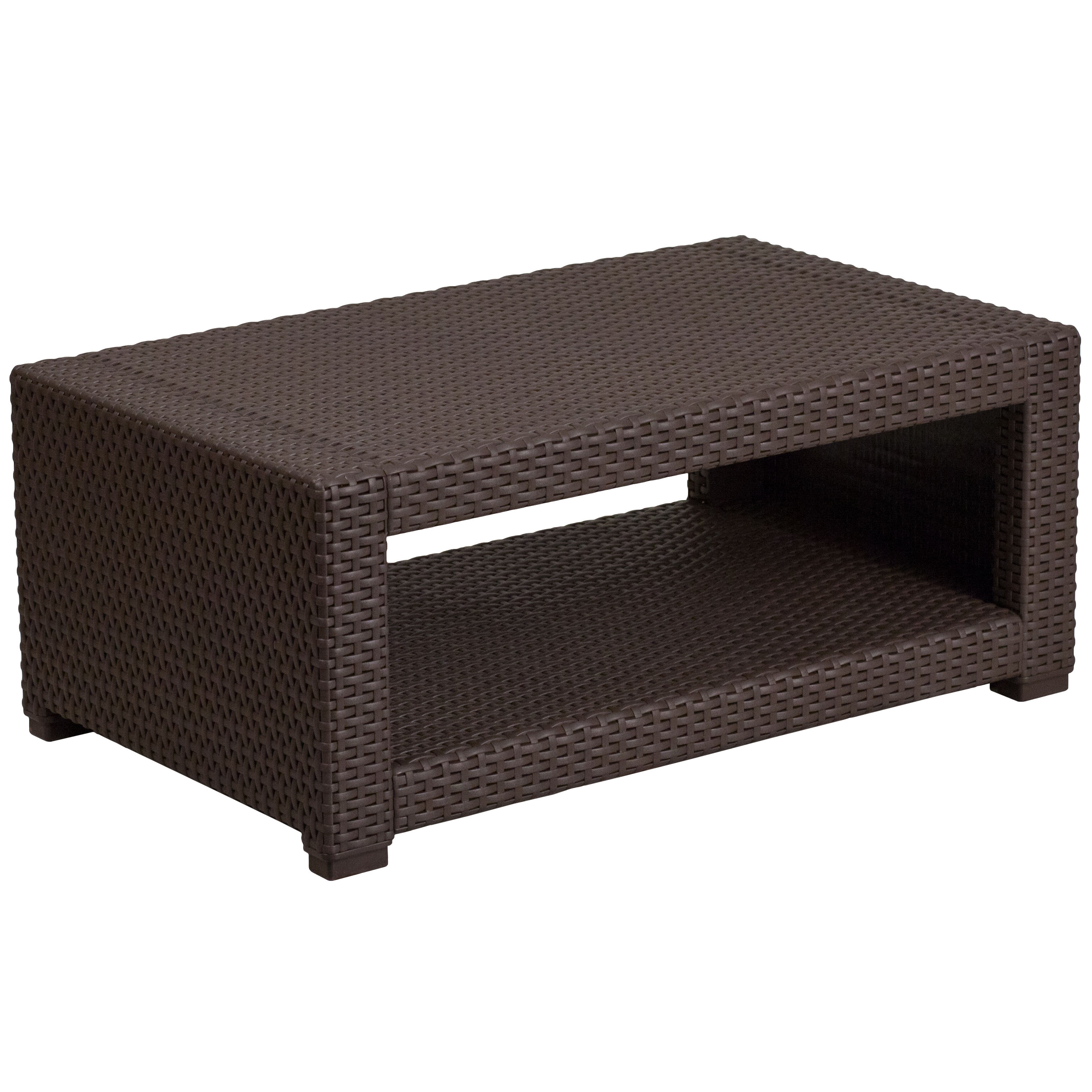 Flash Furniture Chocolate Brown Rattan Coffee Table Click To Enlarge