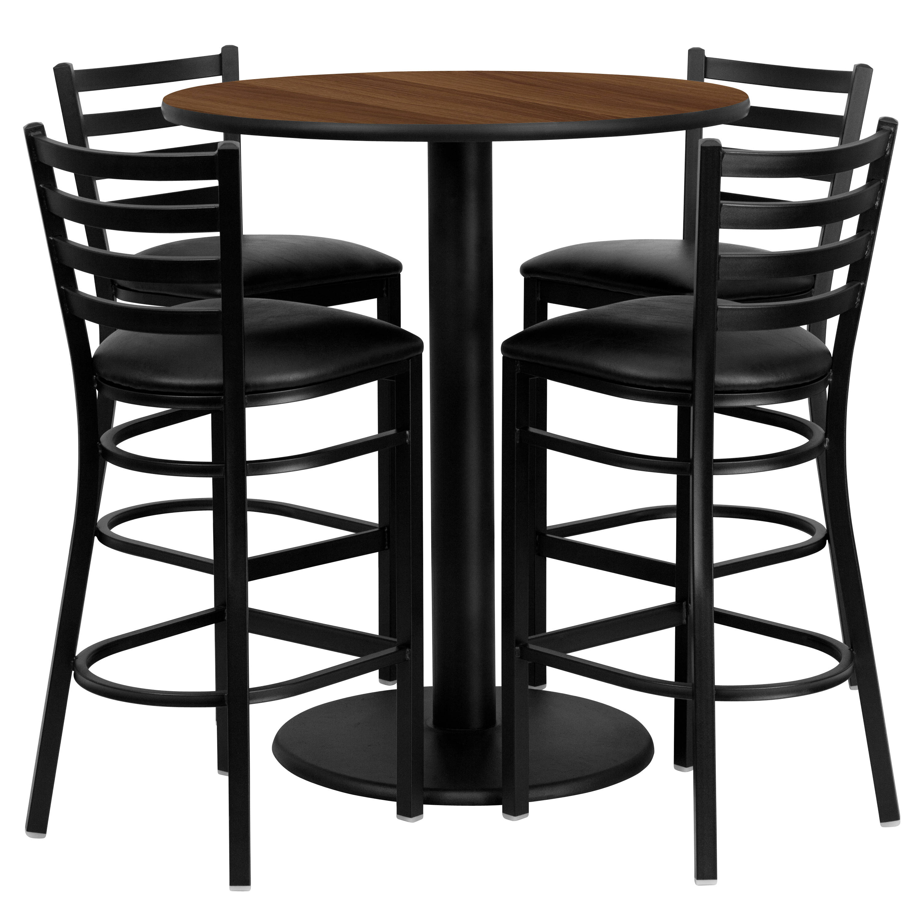 Flash Furniture 36 Inch Walnut 5pc Table Set With 4 Black Barstools