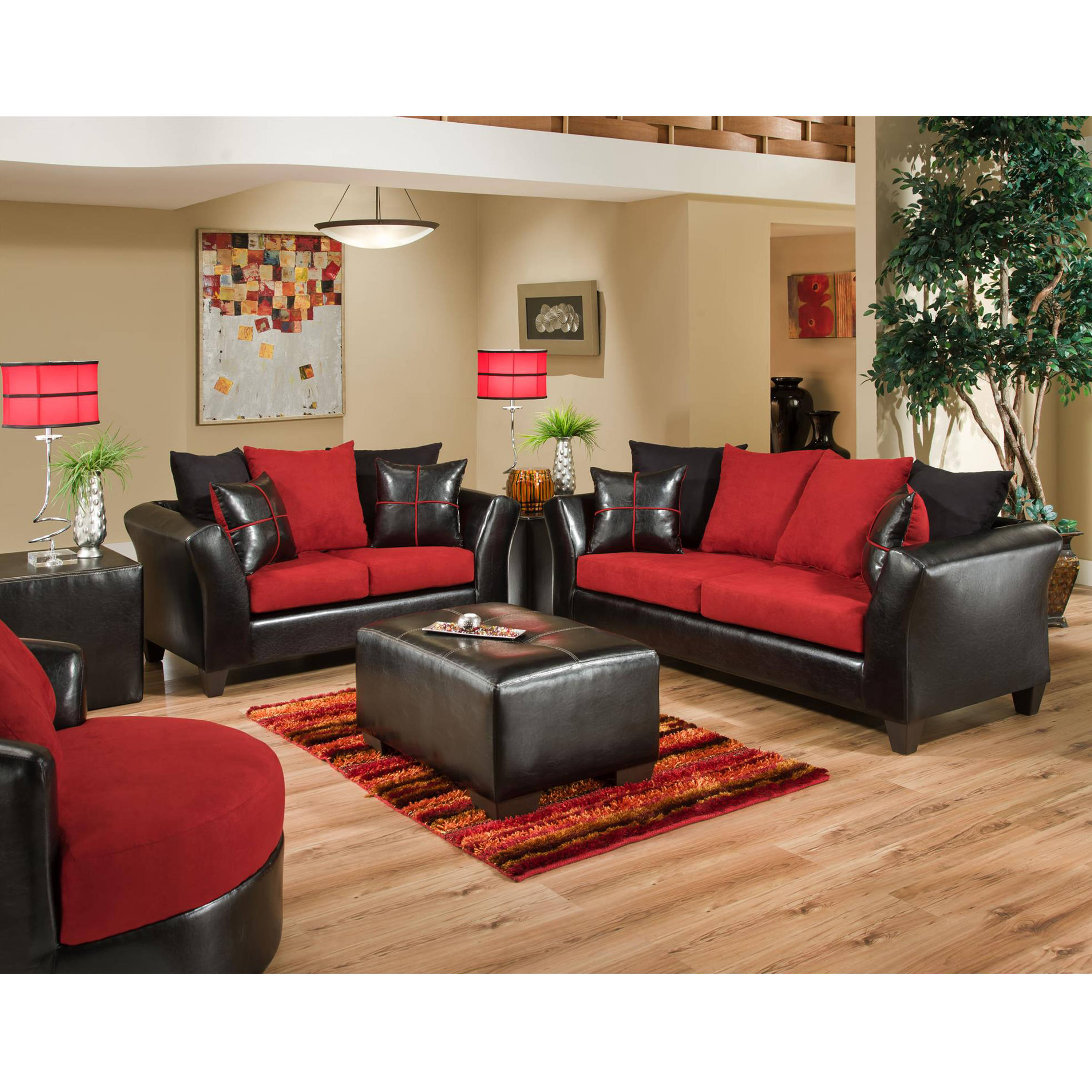 Flash Furniture Riverstone Red Black 2pc Living Room Set | The ...