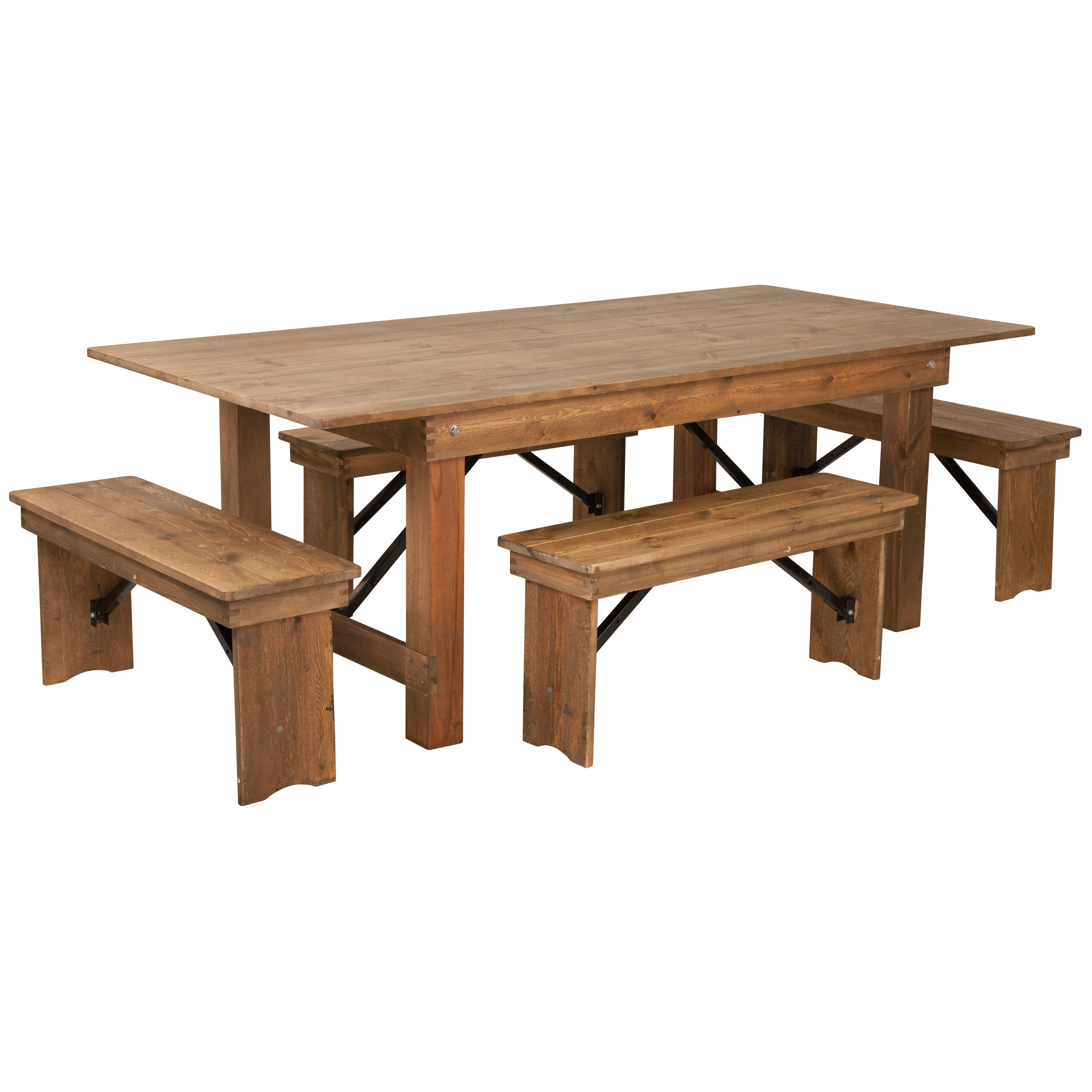 Flash Furniture Hercules Rustic Pine Wood 5pc Dining Room Set With Bench