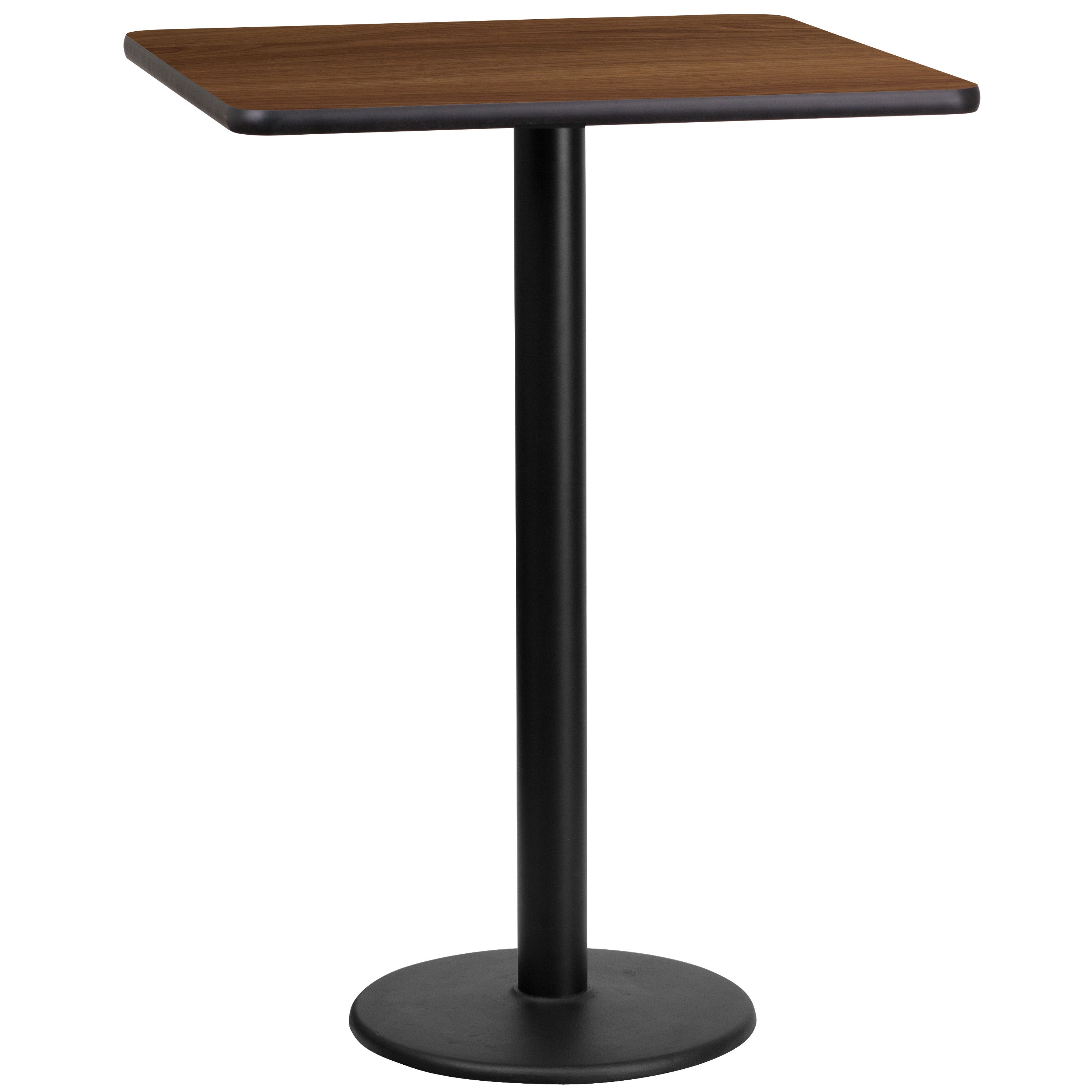 Flash Furniture 24 Inch Square Walnut Table Top With 18 Round Bar Height Base