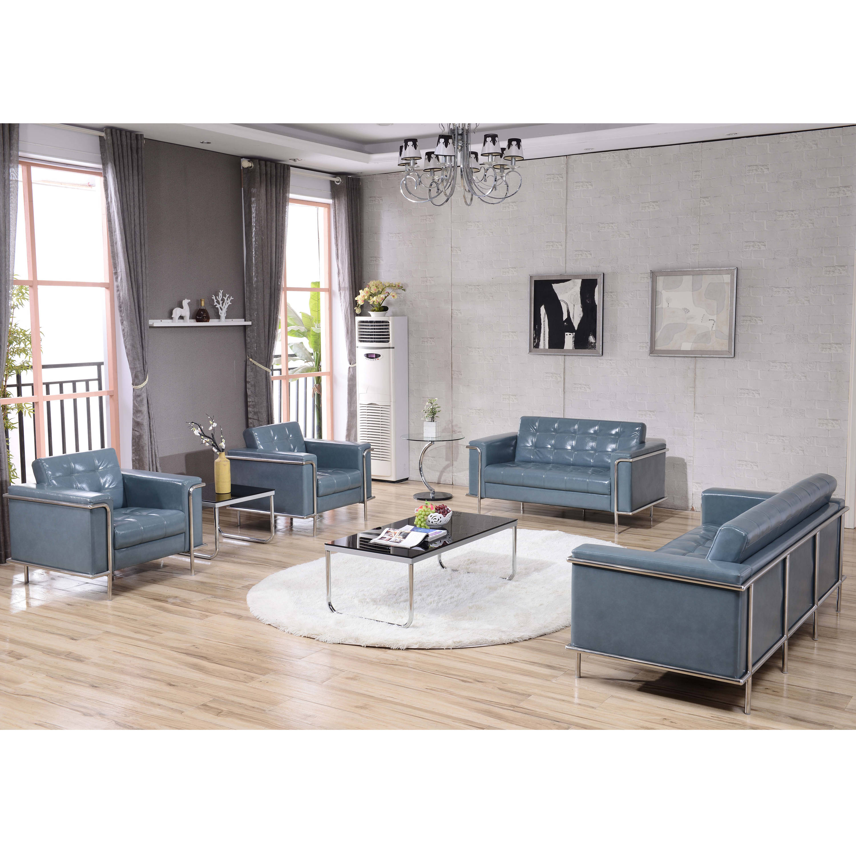 Flash Furniture Hercules Lesley Gray 3pc Reception Set The Classy Home