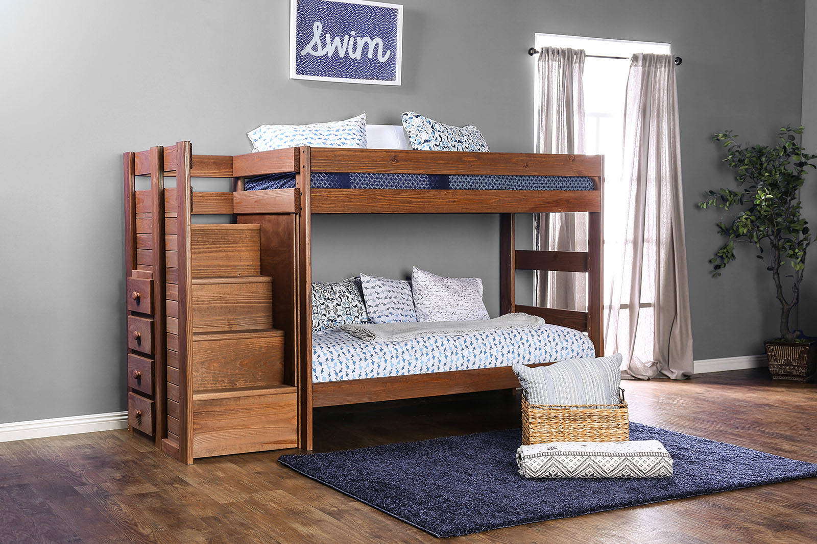 Furniture Of America Ampelios Twin Over Twin Bunk Bed With 2 Slat Kits