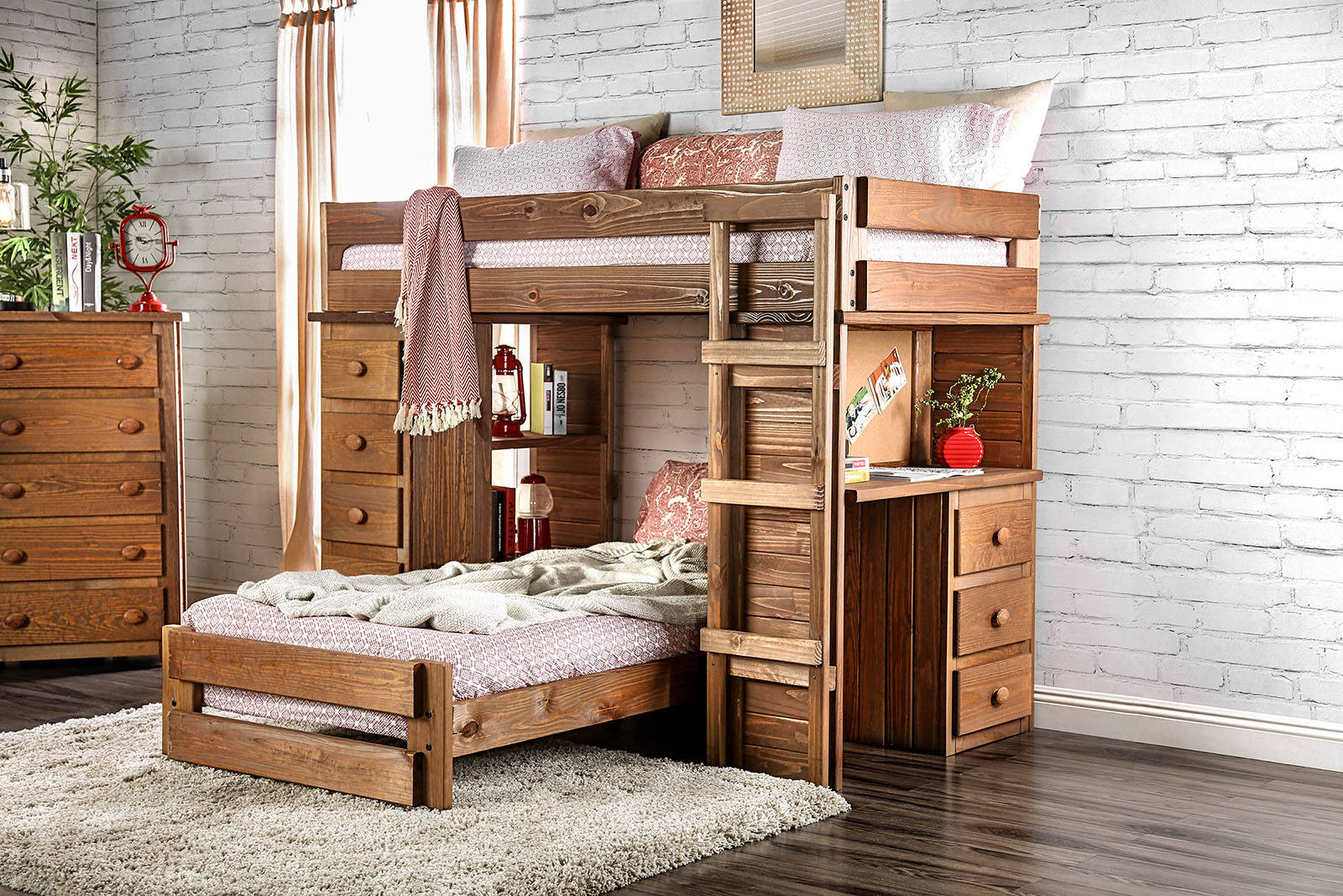 Furniture of America Beckford Twin over Twin Loft Bed with 2 Slat Kits