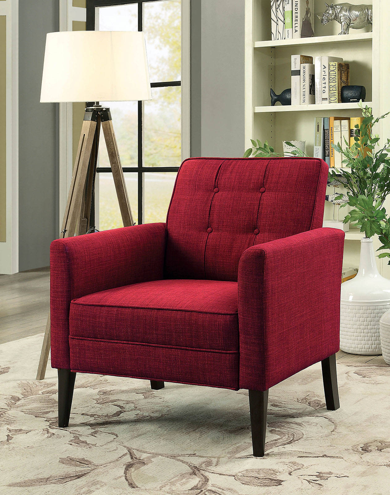 Furniture of America Amelie Red Accent Chair   The Classy Home