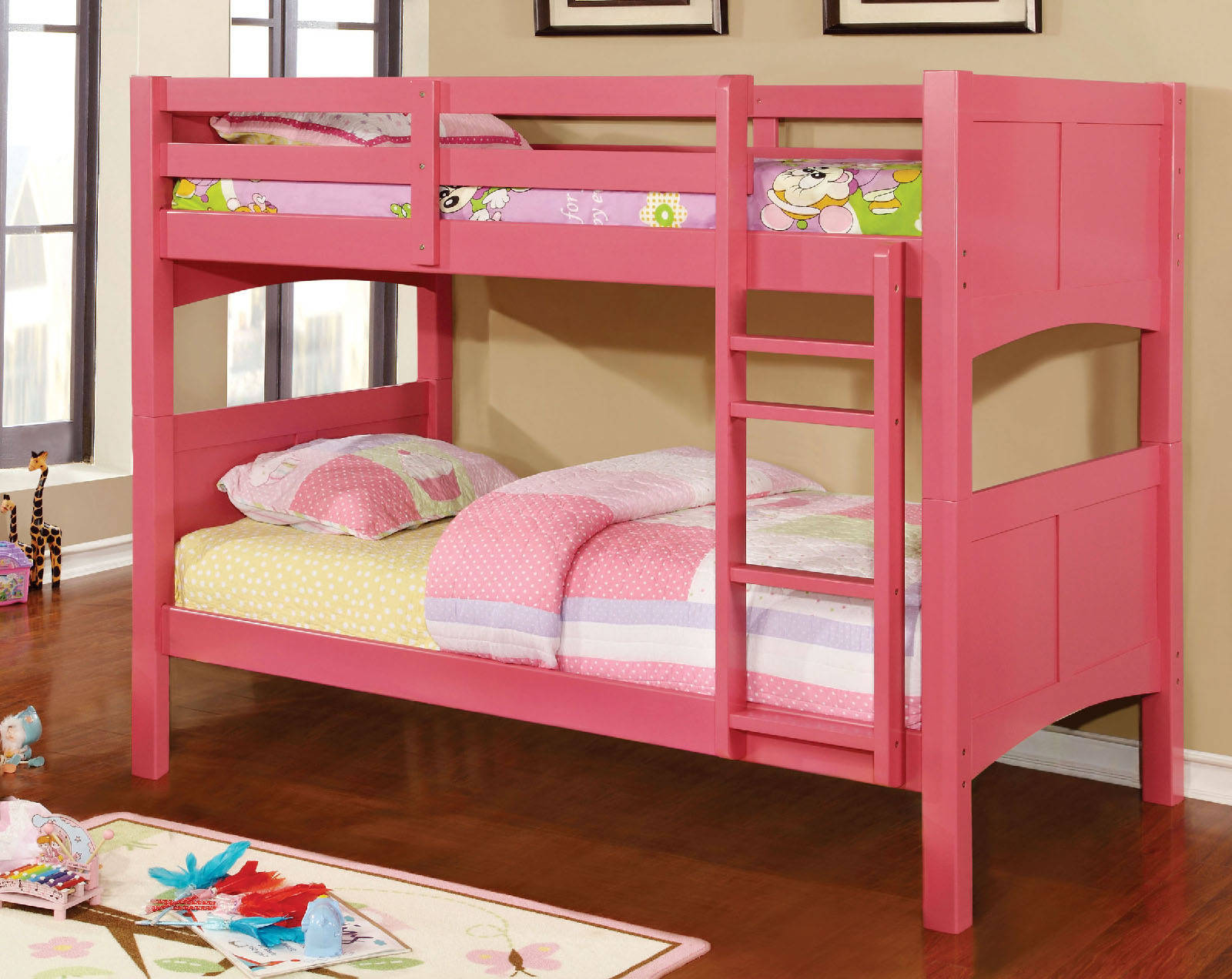 Furniture Of America Prismo Ii Pink Twin Over Bunk Bed Click To Enlarge