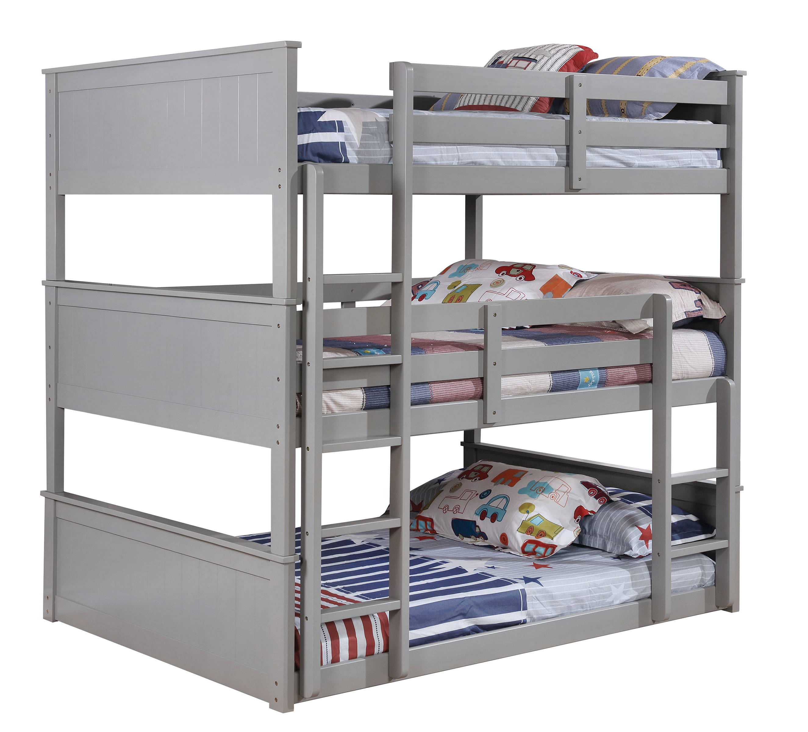 Furniture Of America Triple Bunk Bed: Furniture Of America Therese Gray Full Triple Decker Bed