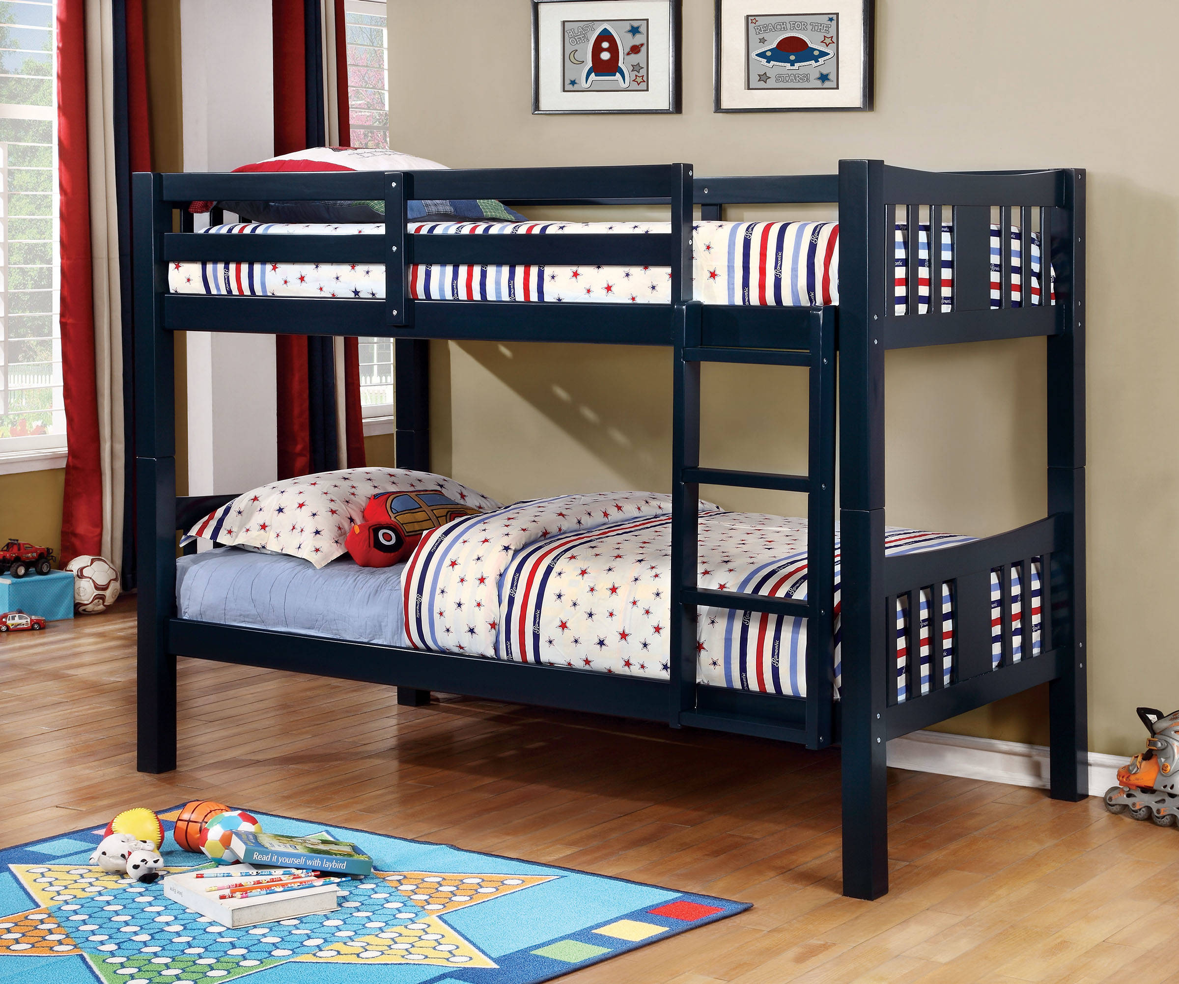 Furniture Of America Cameron Blue Twin Over Twin Bunk Bed