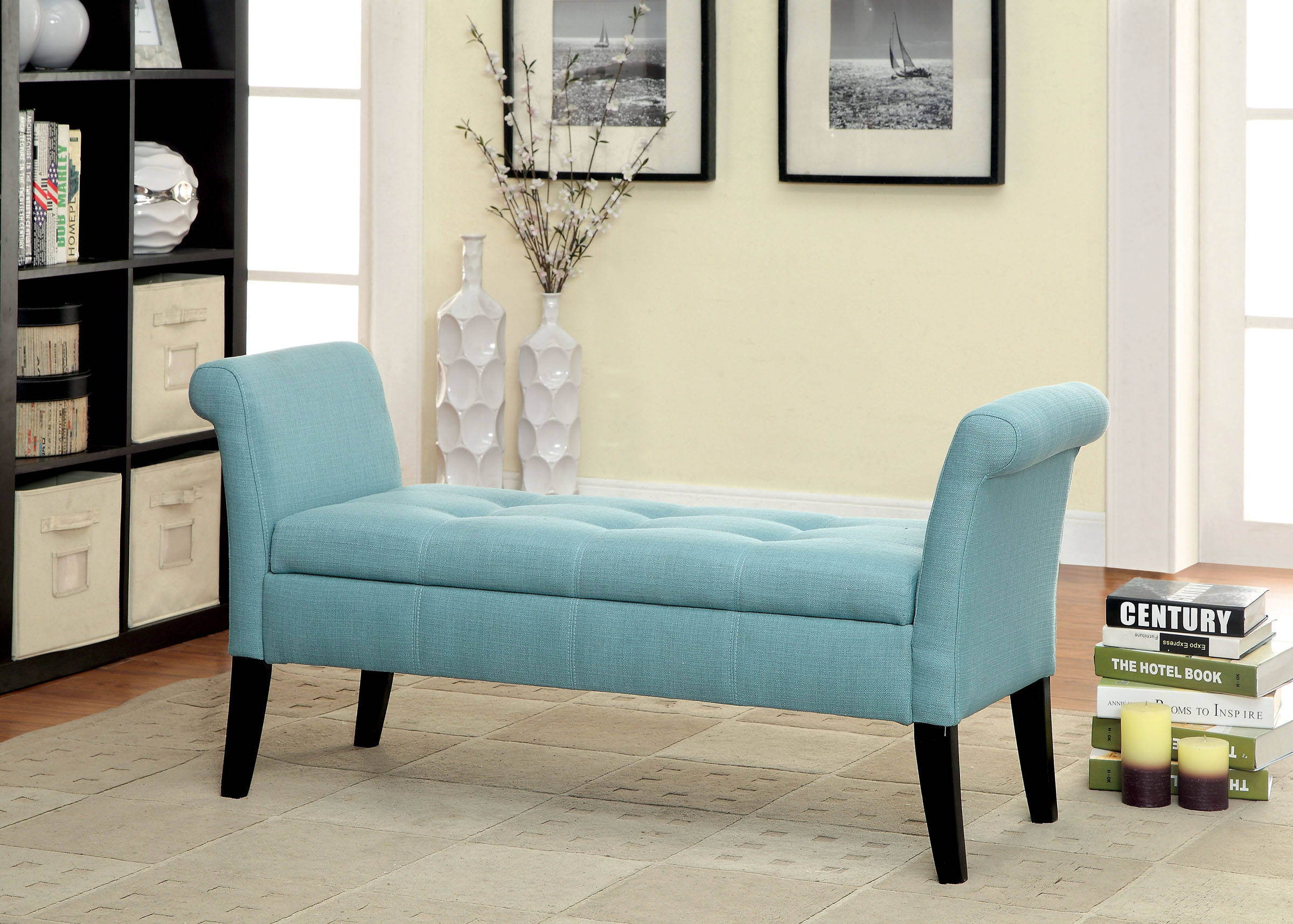 Strange Furniture Of America Doheny Blue Storage Bench Gmtry Best Dining Table And Chair Ideas Images Gmtryco