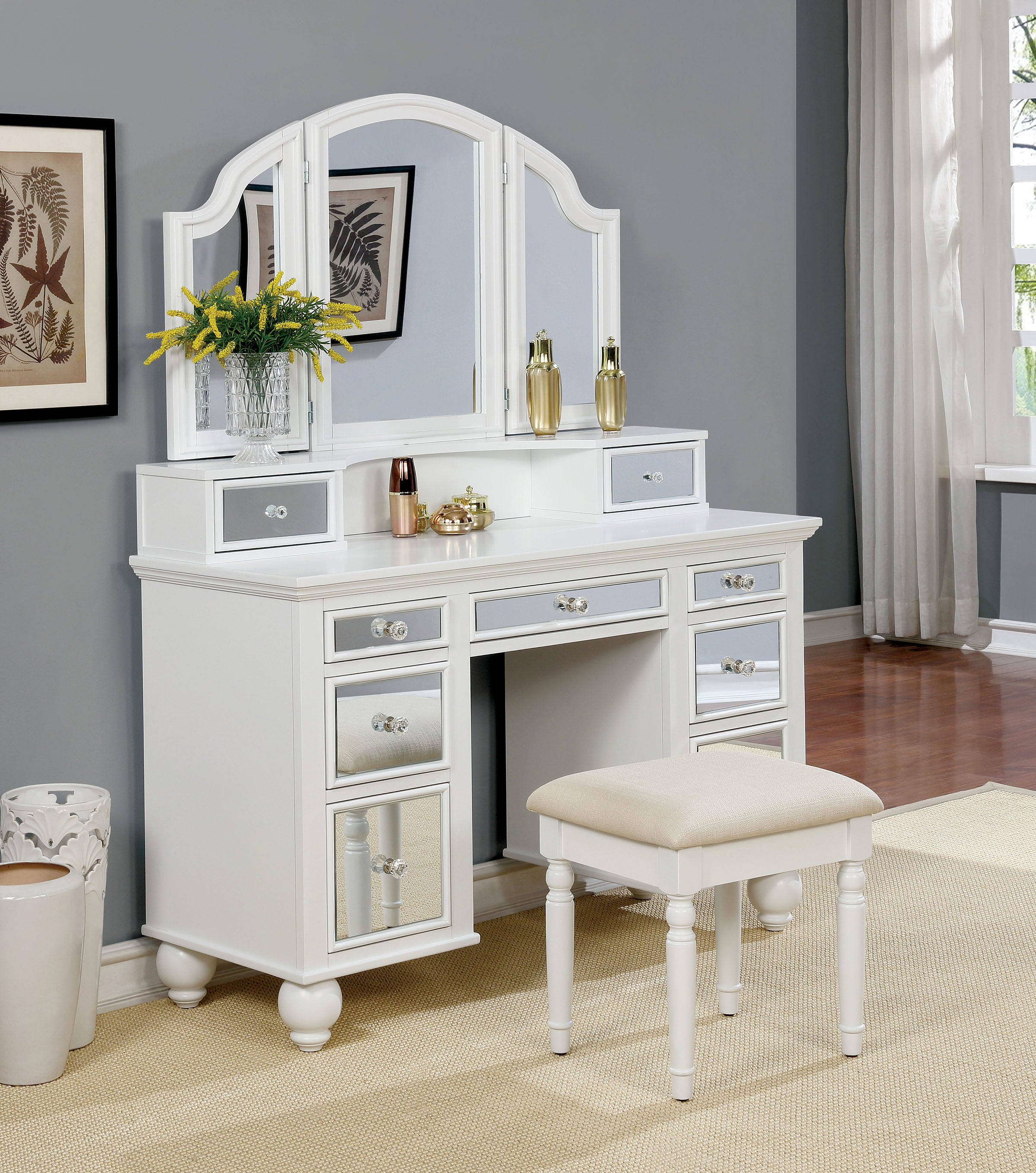 Furniture of America Tracy White Vanity with Stool | The ...