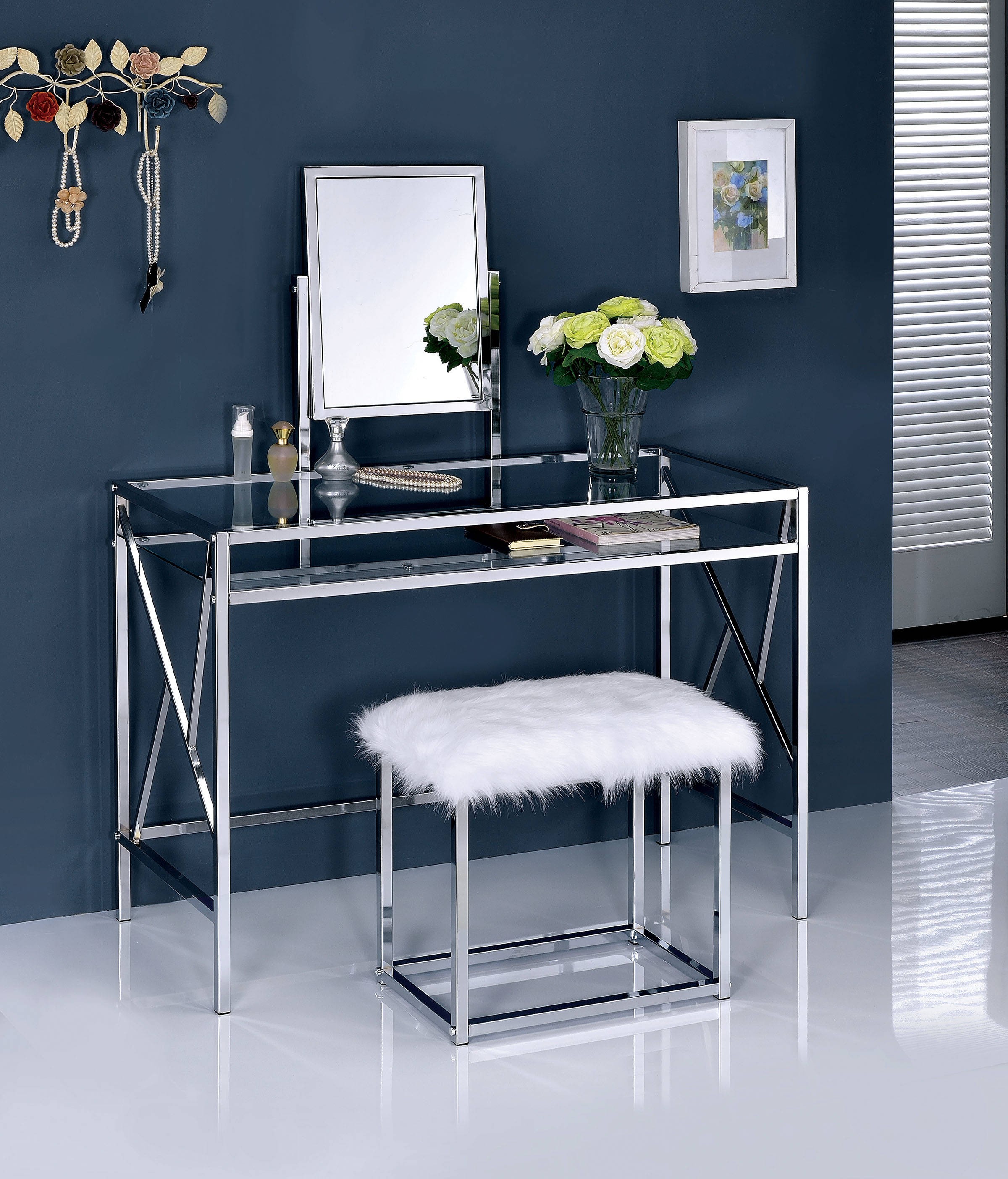Furniture of America Lismore Chrome Vanity with Stool | The Classy Home