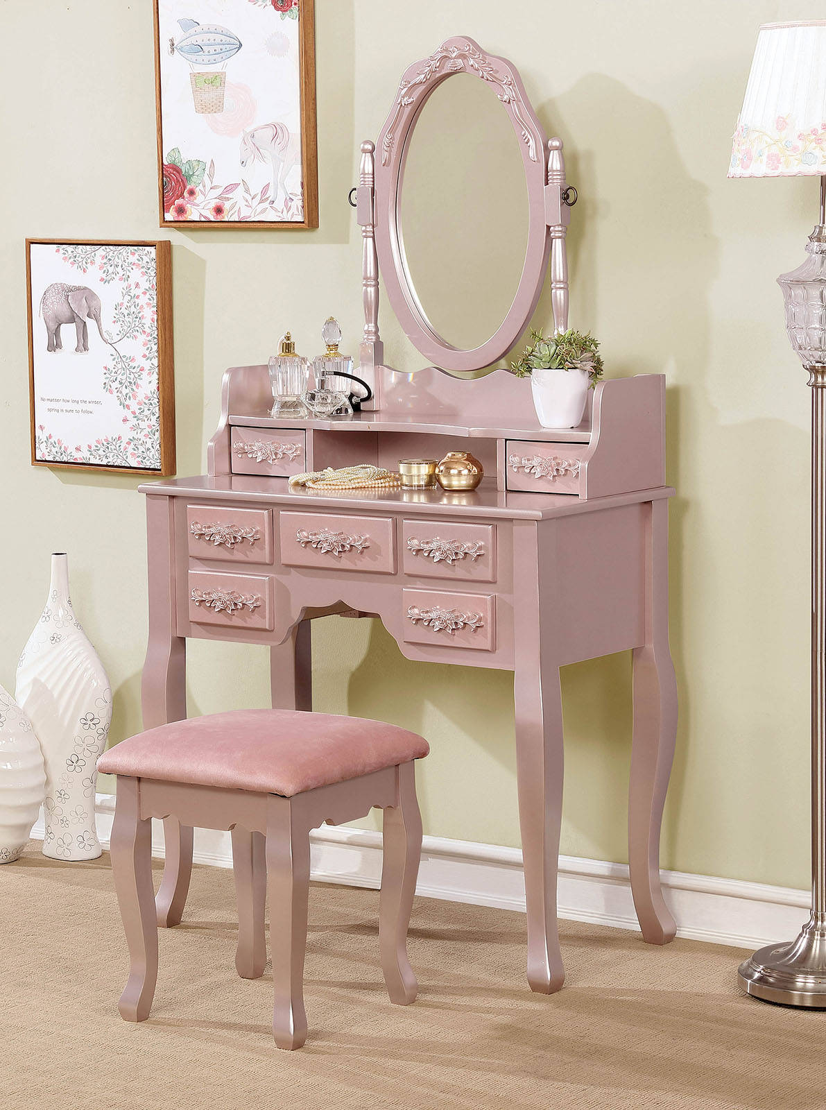 low priced 0f9d7 0ef21 Furniture of America Harriet Rose Gold Vanity with Stool