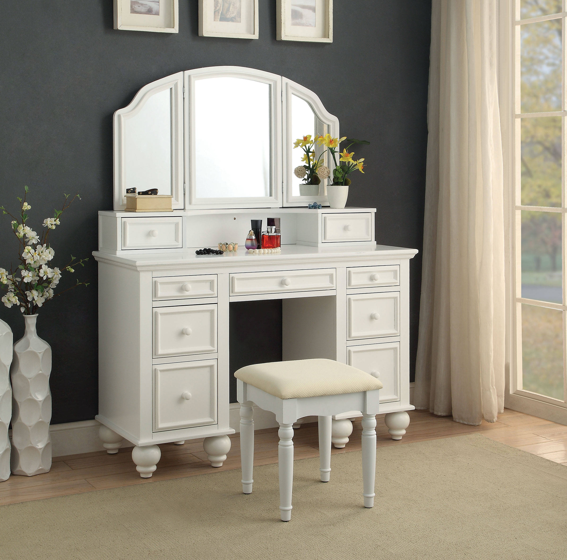 Furniture Of America Athy White Vanity With Stool The