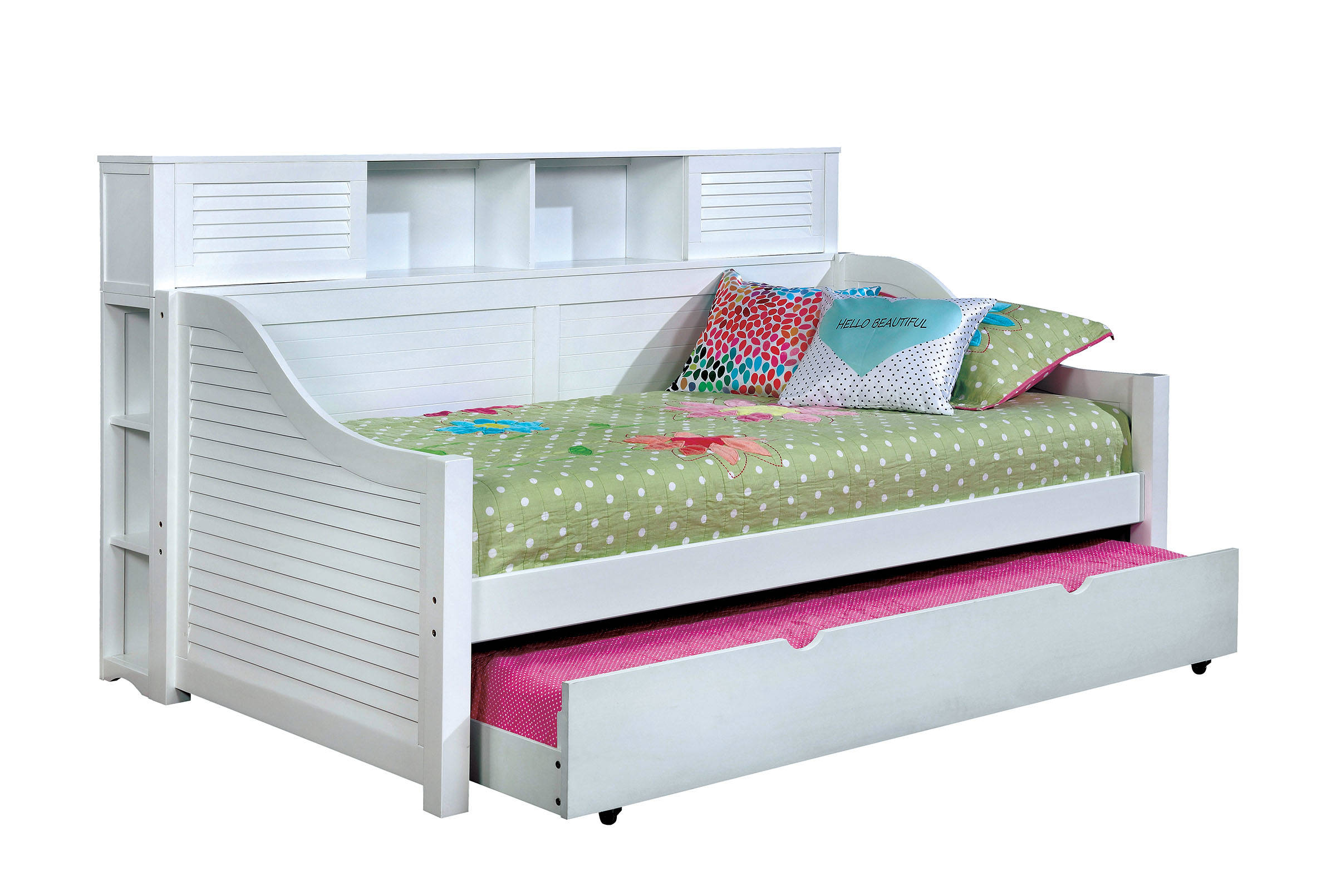 Furniture Of America Flo White Trundle Daybed With Bookcase