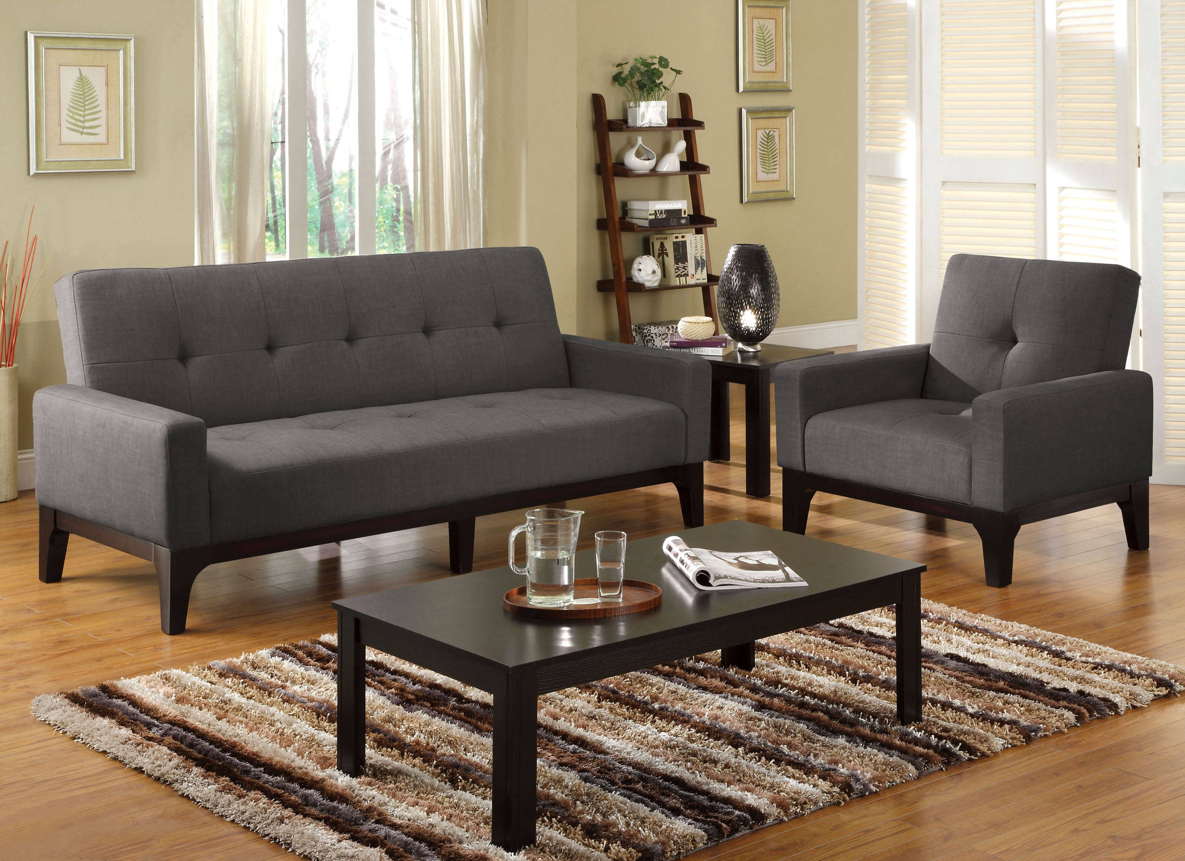 Laporte Transitional Charcoal Fabric Solid Wood Futon Sofa