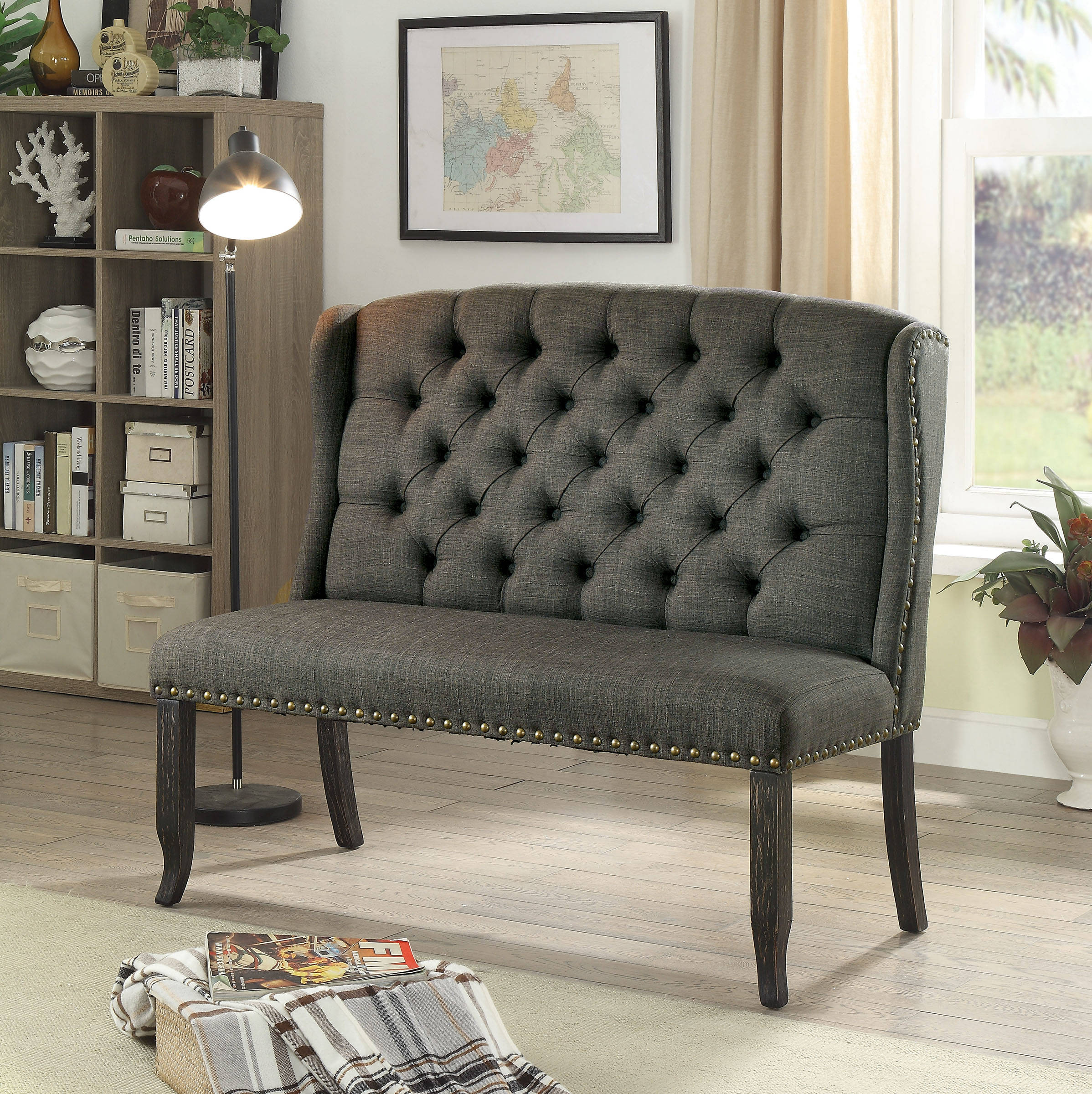 Cool Furniture Of America Sania Iii Gray 2 Seater Love Seat Bench Pabps2019 Chair Design Images Pabps2019Com