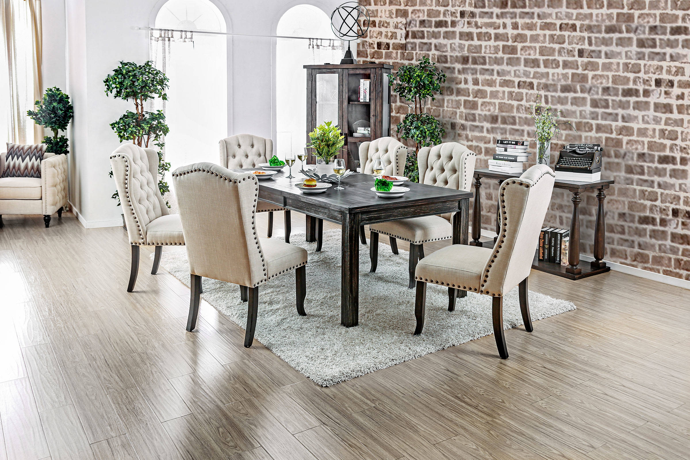 Furniture Of America Sania I 7pc Dining Room Set With 84 Inch Table