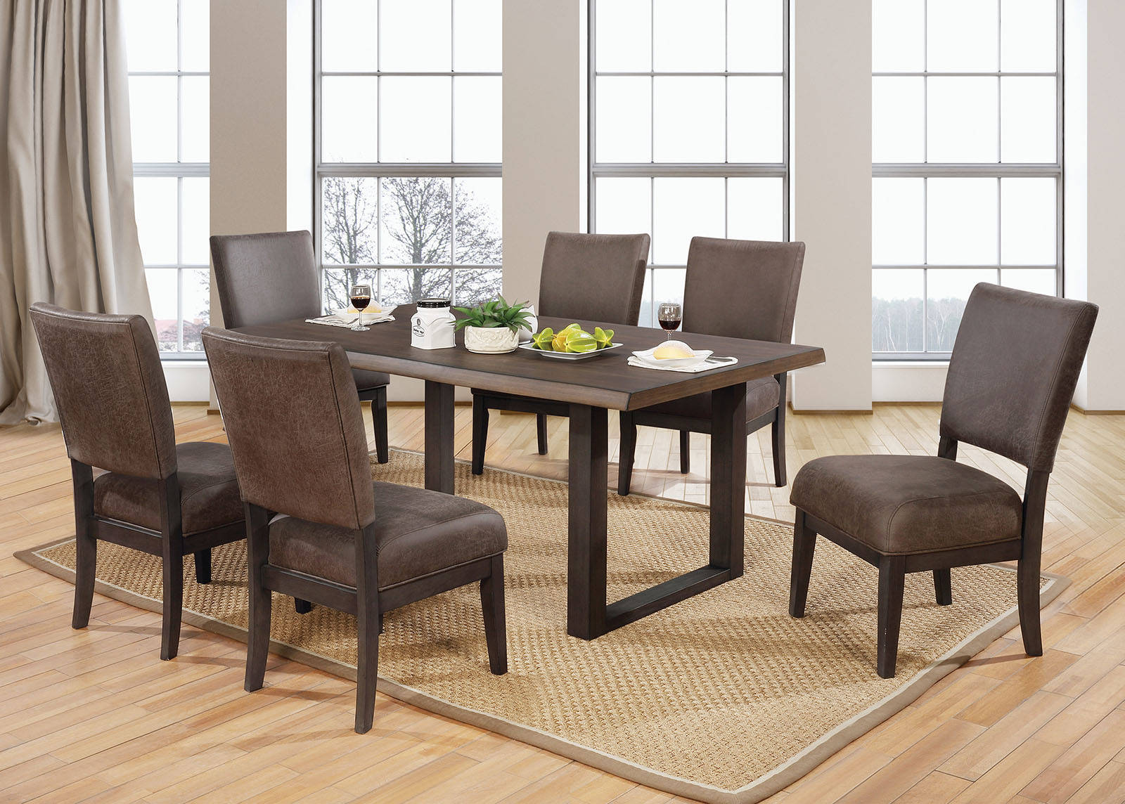 Furniture of America Tolstoy Espresso 7pc Dining Room Set