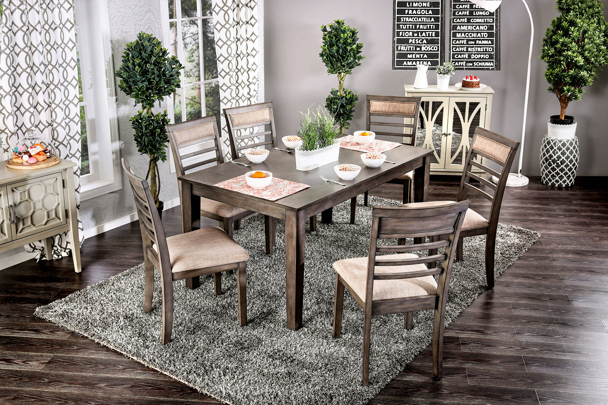 Furniture Of America Taylah 7pc Dining Room Set