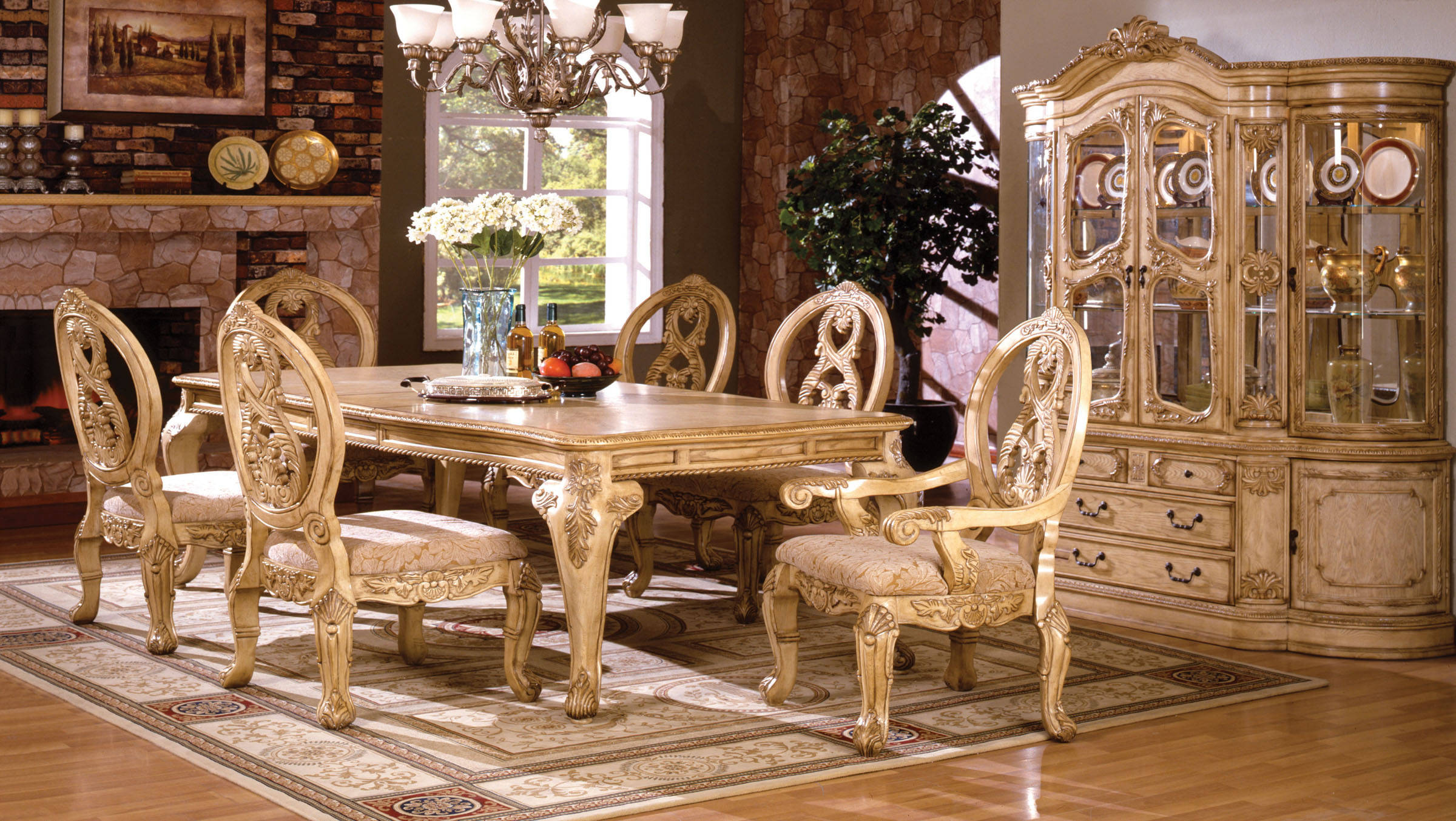tuscany iii antique white fabric solid wood 7pc dining