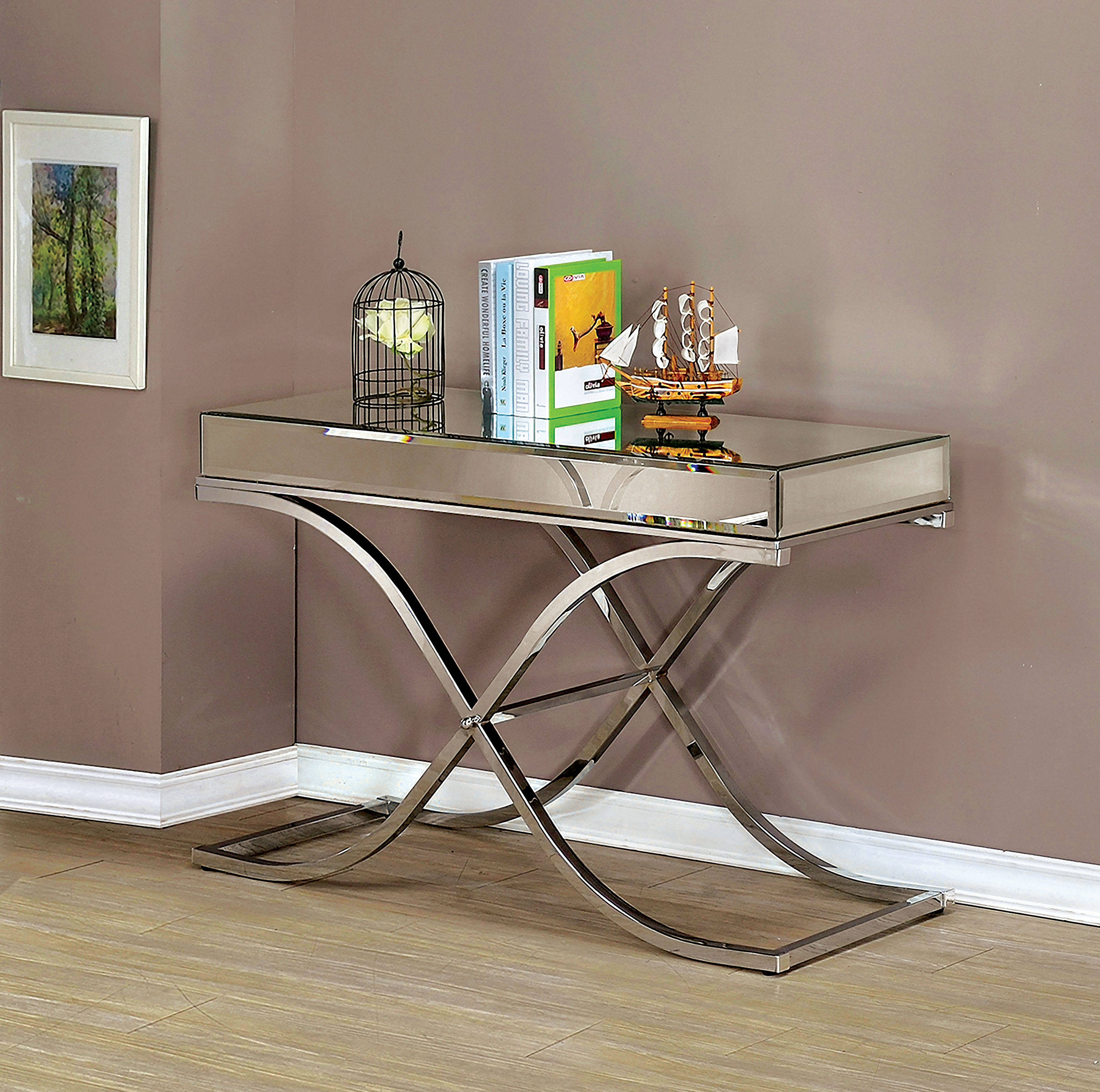 Furniture Of America Sundance Chrome Sofa Table Click To Enlarge