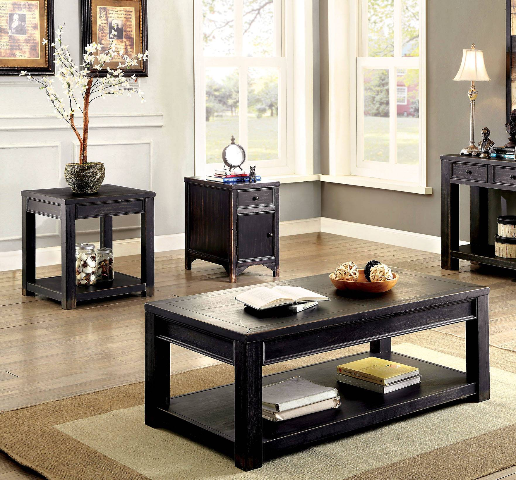 Astonishing Furniture Of America Meadow Antique Black 3Pc Coffee Table Set Short Links Chair Design For Home Short Linksinfo