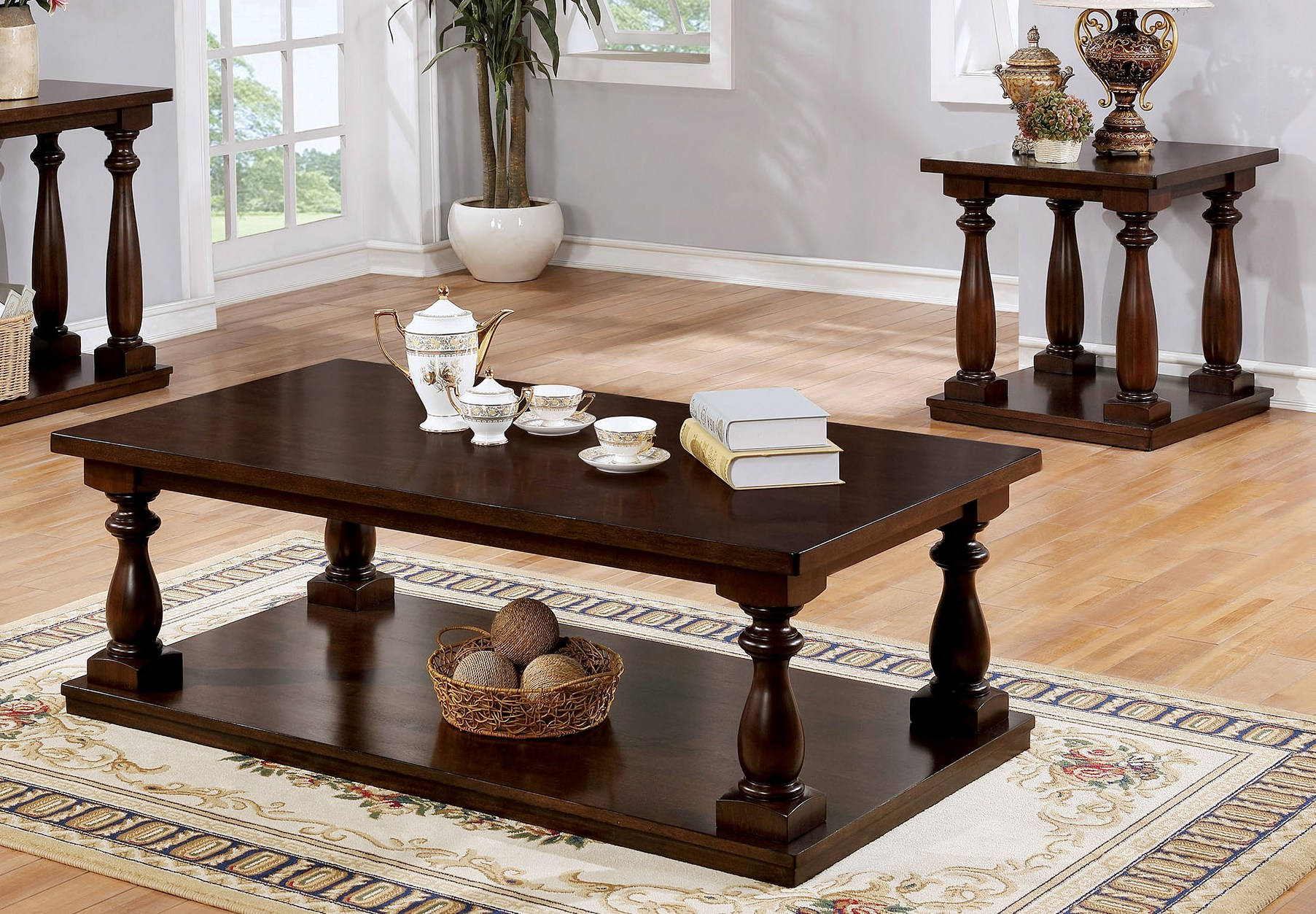 Furniture of America Tammie Cherry 3pc Coffee Table Set & Furniture of America Tammie Cherry 3pc Coffee Table Set | The Classy ...