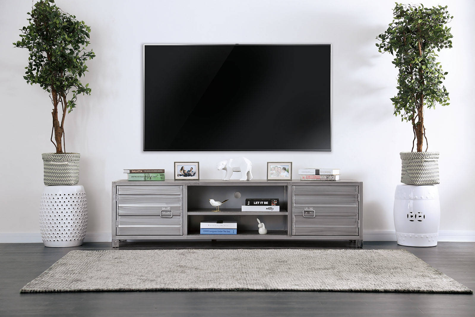 Furniture Of America Mccredmond Silver Tv Stand Click To Enlarge