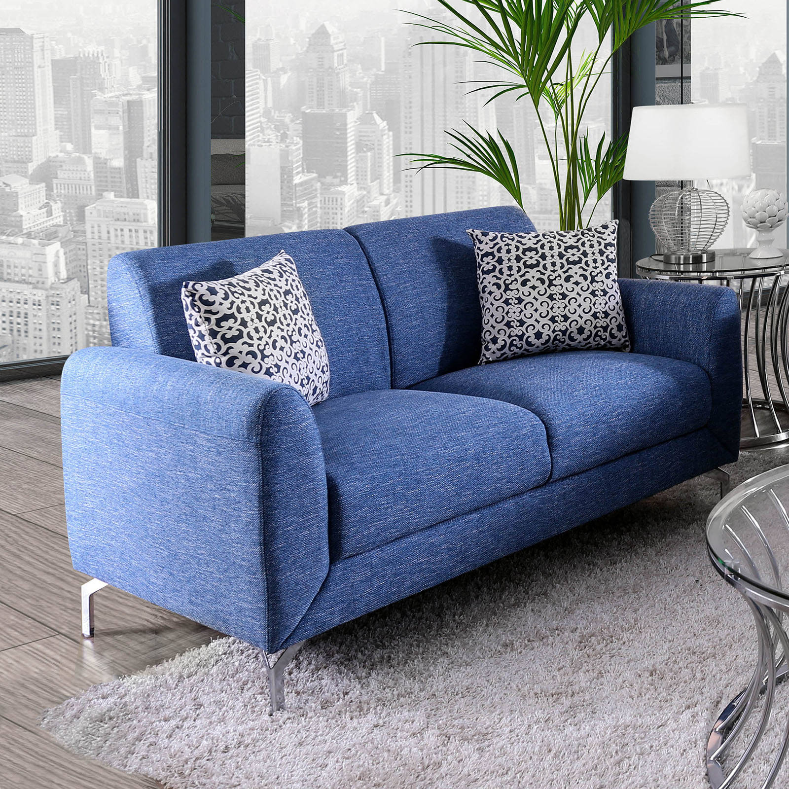 Furniture of america lauritz blue loveseat click to enlarge