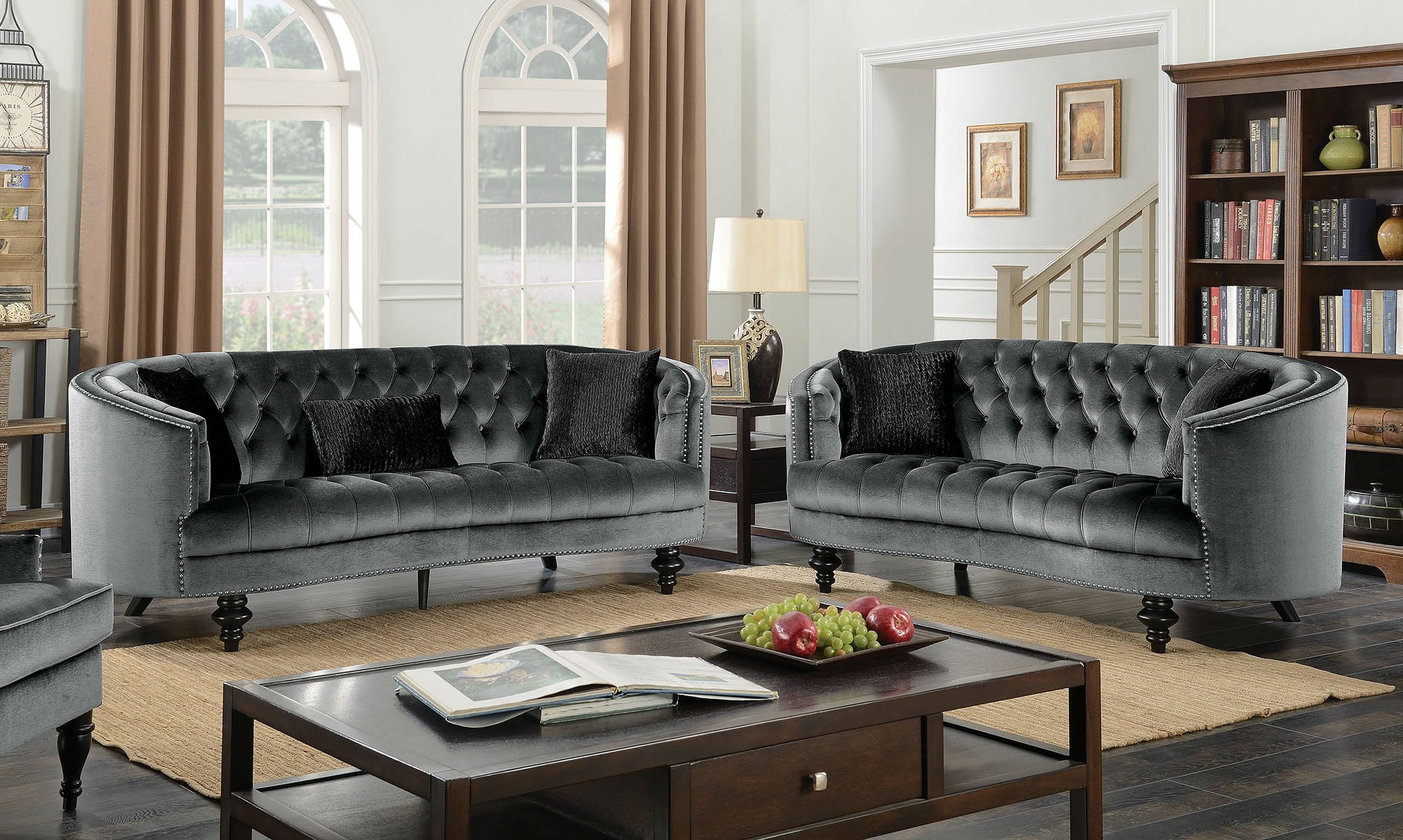 Manuela Dark Gray 2pc Living Room Set