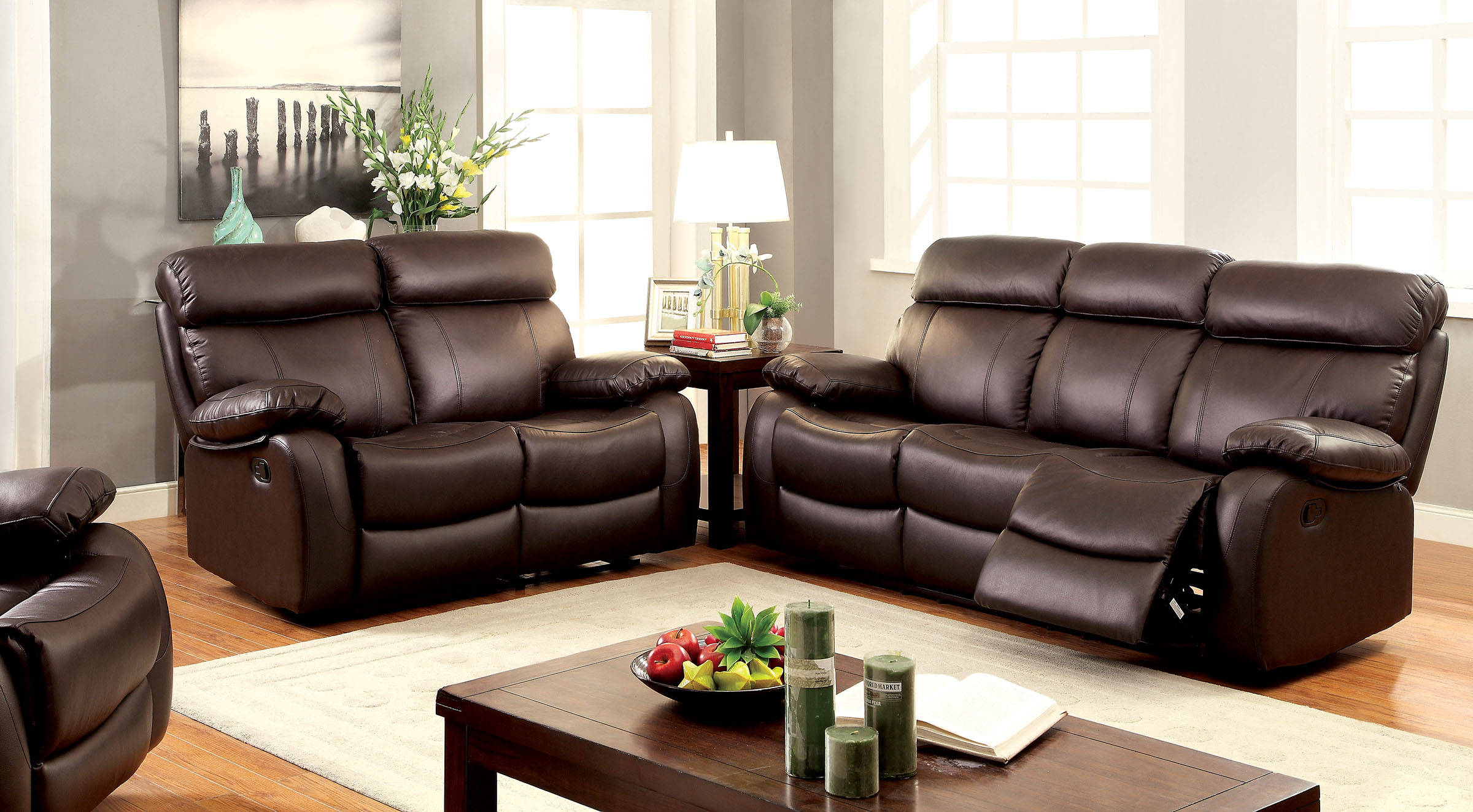 Myrtle transitional brown top grain leather sofa living for Leather sofa deals