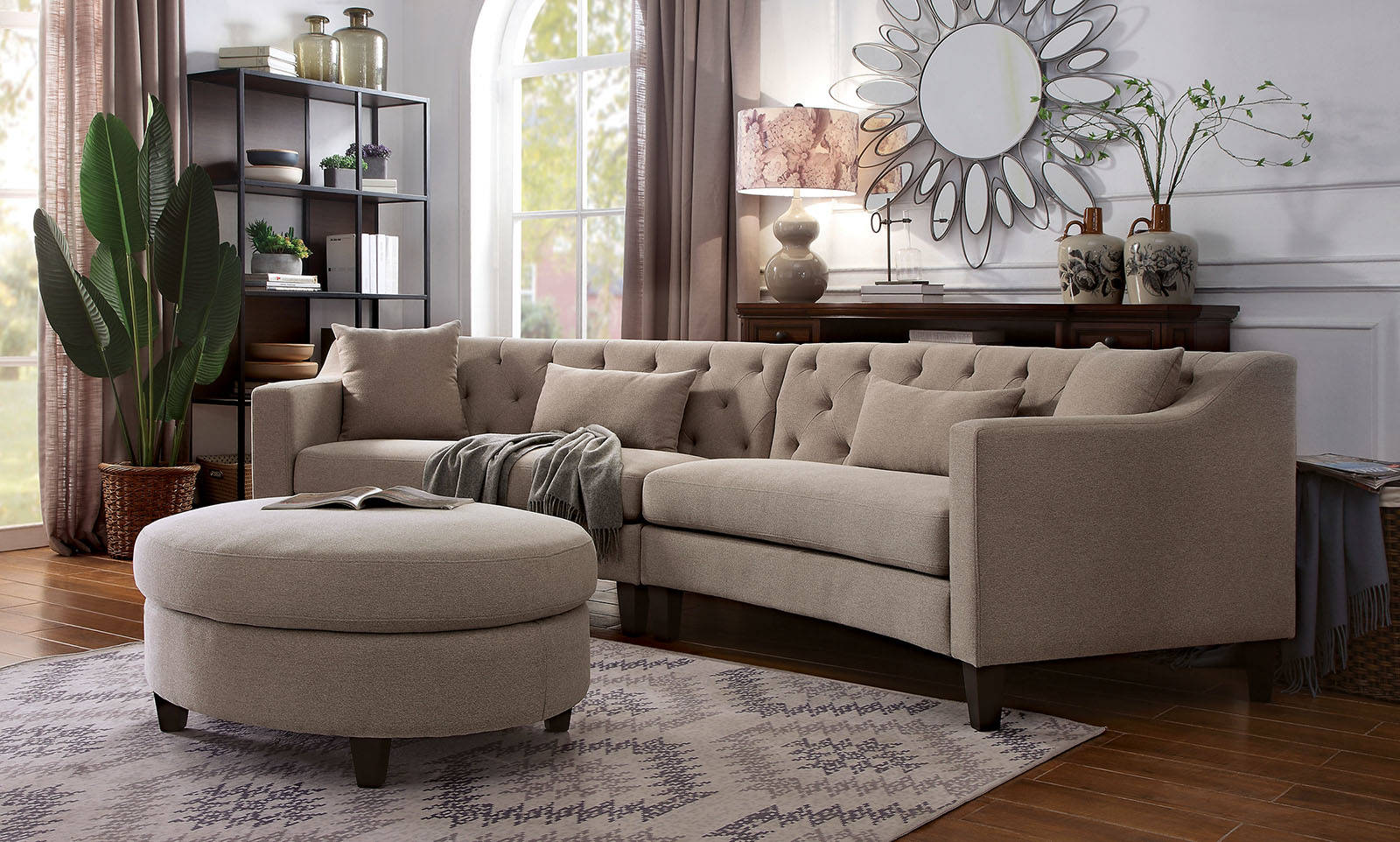 Stupendous Furniture Of America Sarin Taupe Sectional With Ottoman Onthecornerstone Fun Painted Chair Ideas Images Onthecornerstoneorg