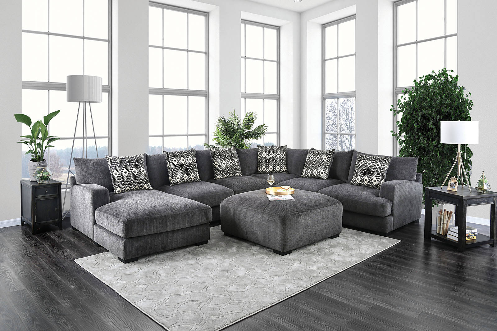 Furniture Of America Kaylee Gray Sectional With Ottoman The Classy